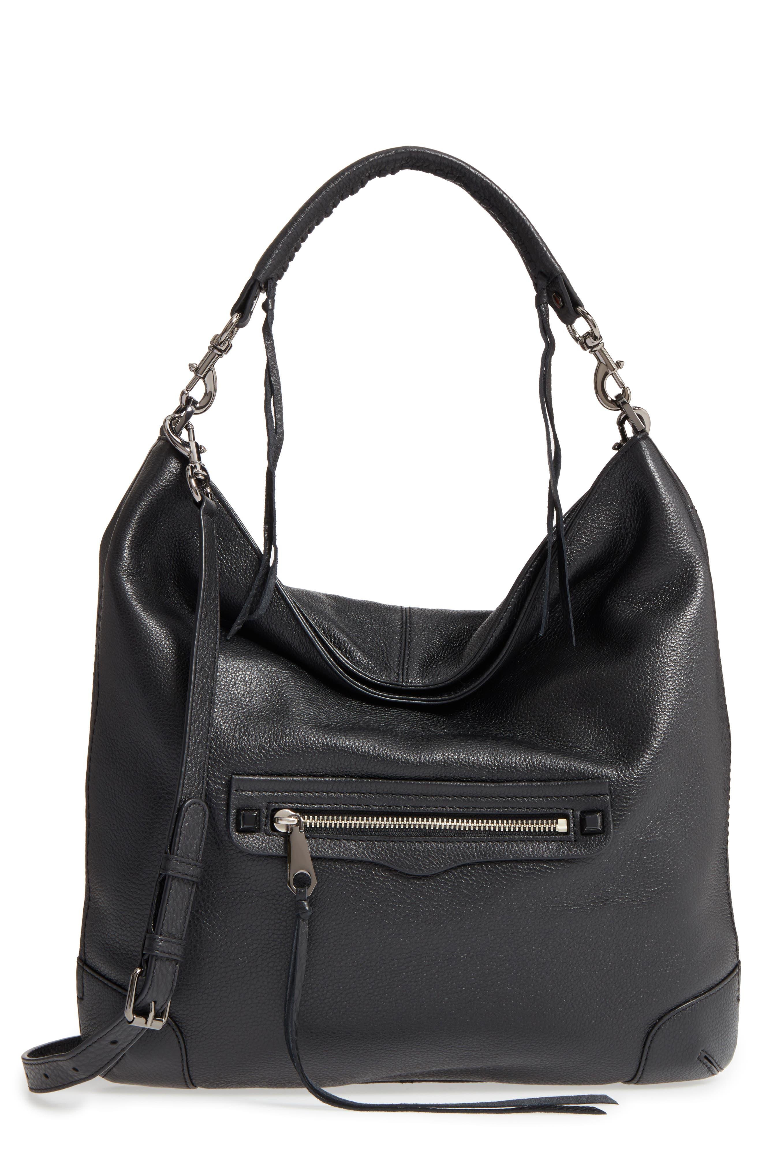 Slim Regan Hobo Bag,                         Main,                         color, BLACK