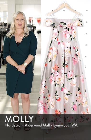 Floral Off the Shoulder Mikado Gown, sales video thumbnail