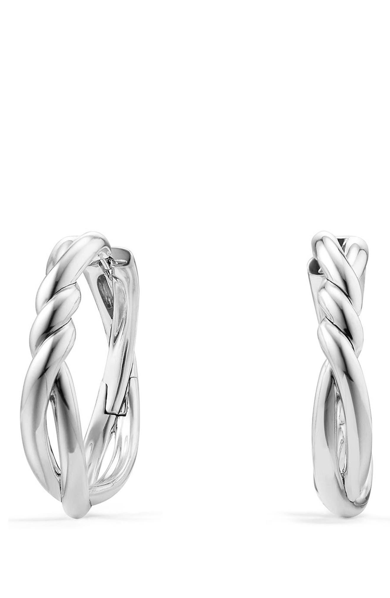 DAVID YURMAN Continuance Hoop Earrings, Main, color, SILVER