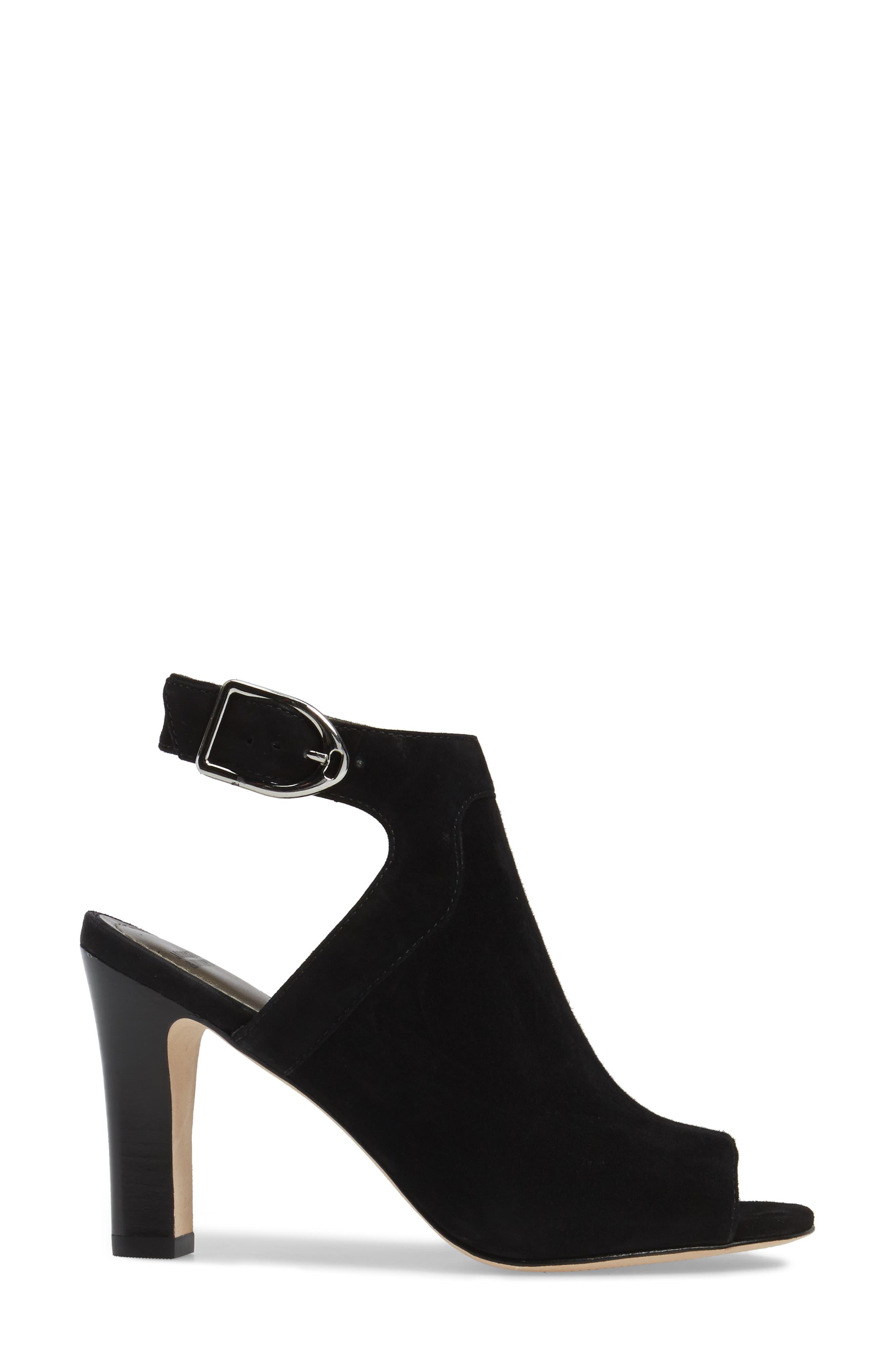 Cassie Peep Toe Sandal,                             Alternate thumbnail 3, color,                             BLACK LEATHER