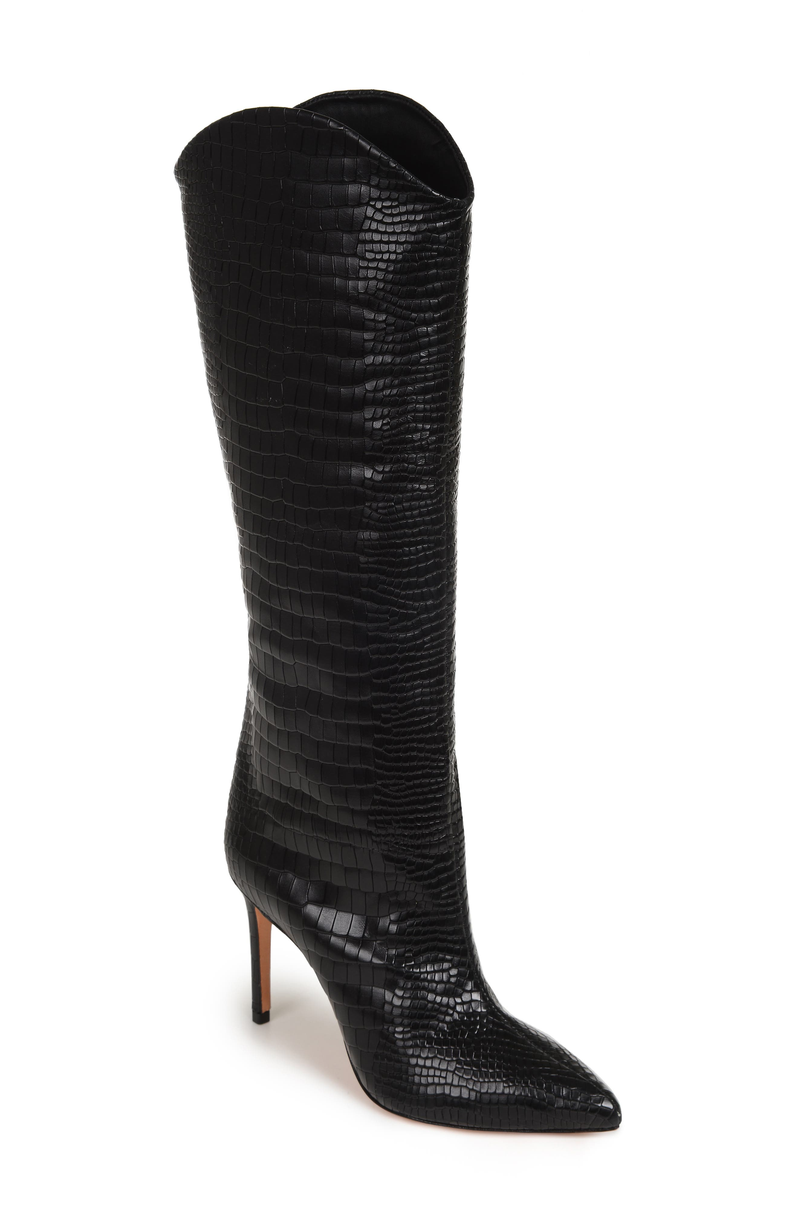 SCHUTZ,                             Maryana Pointy Toe Boot,                             Main thumbnail 1, color,                             BLACK LEATHER