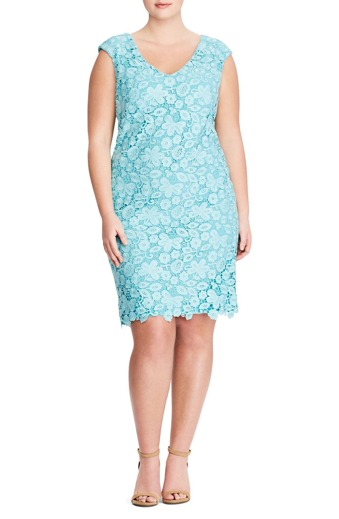 Montie Lace Sheath Dress,                         Main,                         color, 400