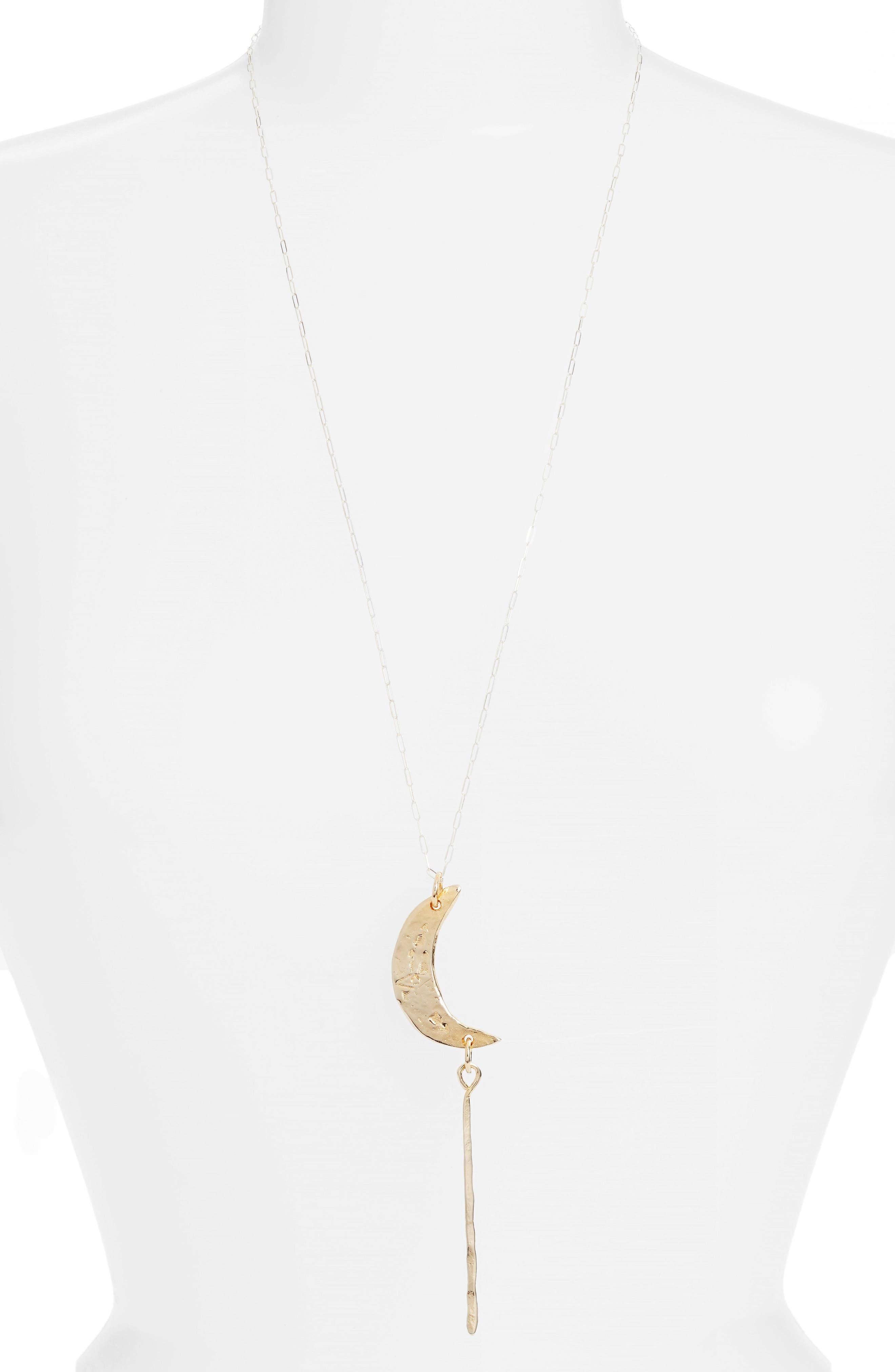 Crescent Moon Pendant Necklace,                             Main thumbnail 2, color,