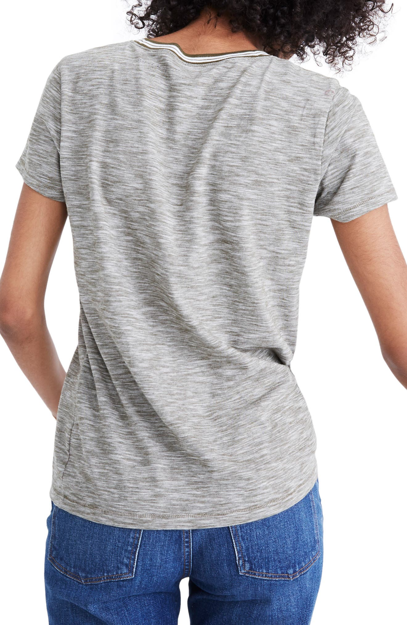 Whisper Cotton Stripe Ringer Tee,                             Alternate thumbnail 3, color,                             301