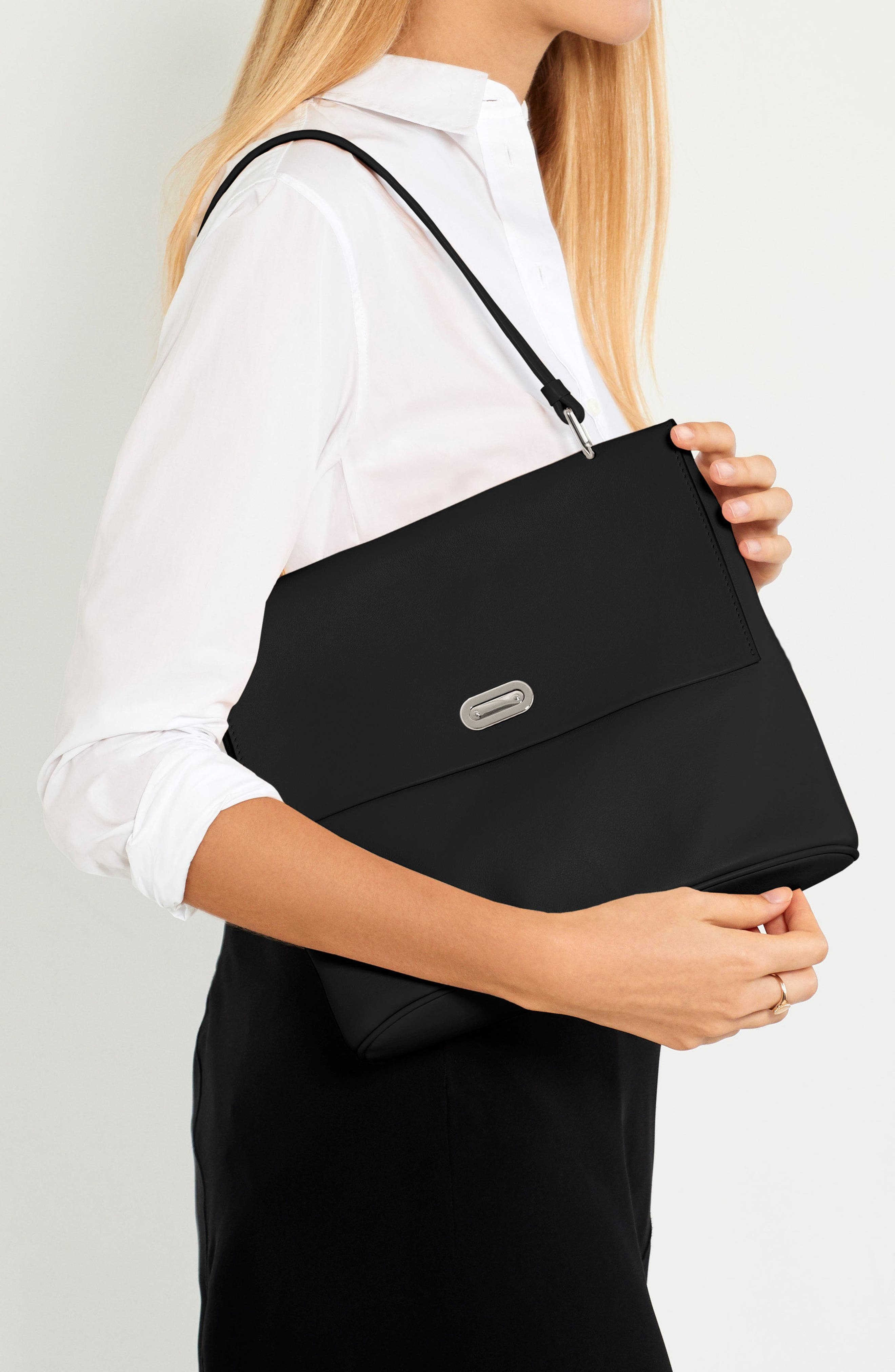 Birdy Leather Shoulder Bag,                             Alternate thumbnail 2, color,                             BLACK