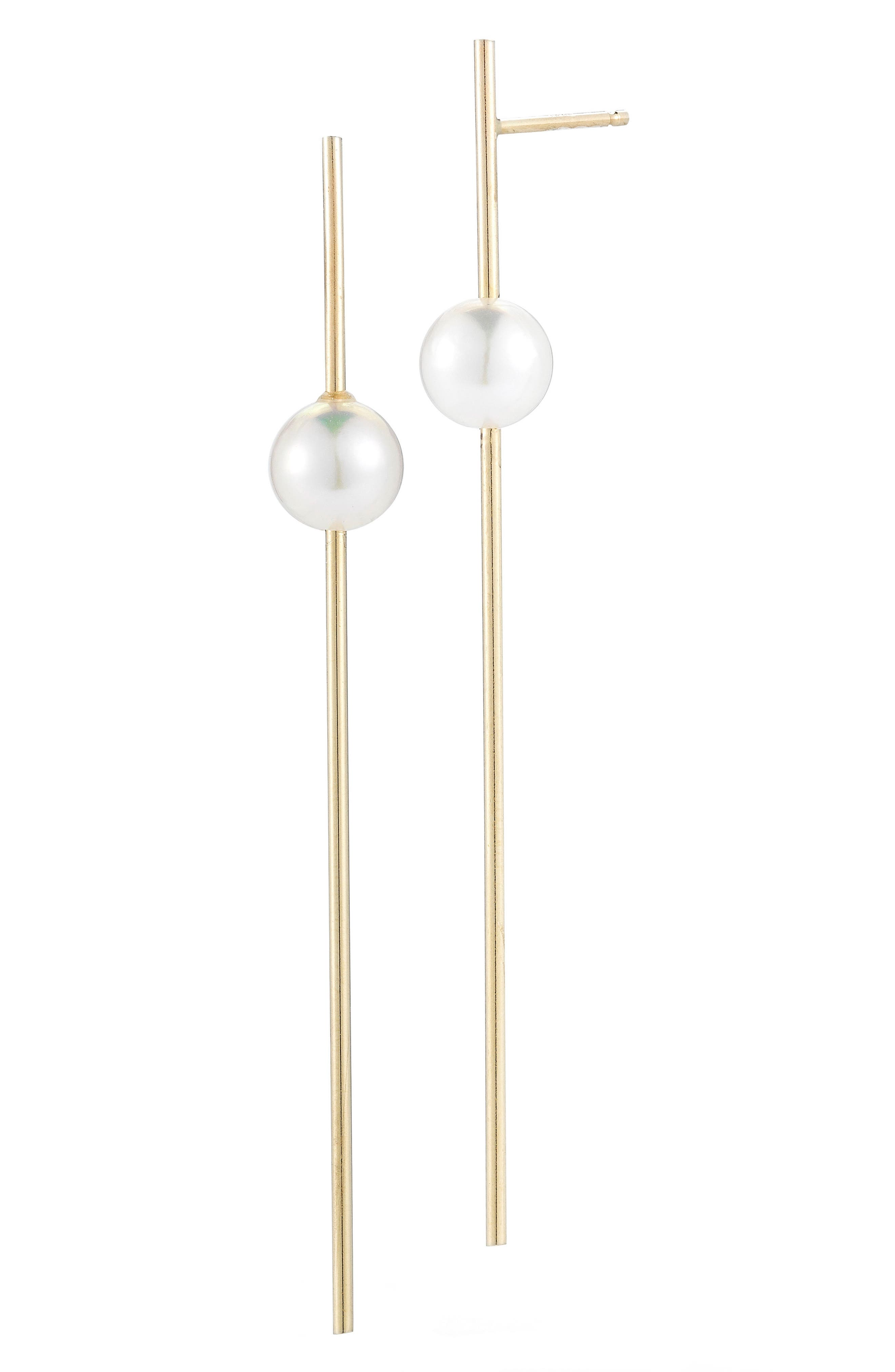 Sea of Beauty Linear Drop Pearl Earrings,                             Main thumbnail 1, color,                             YELLOW GOLD/ WHITE PEARL