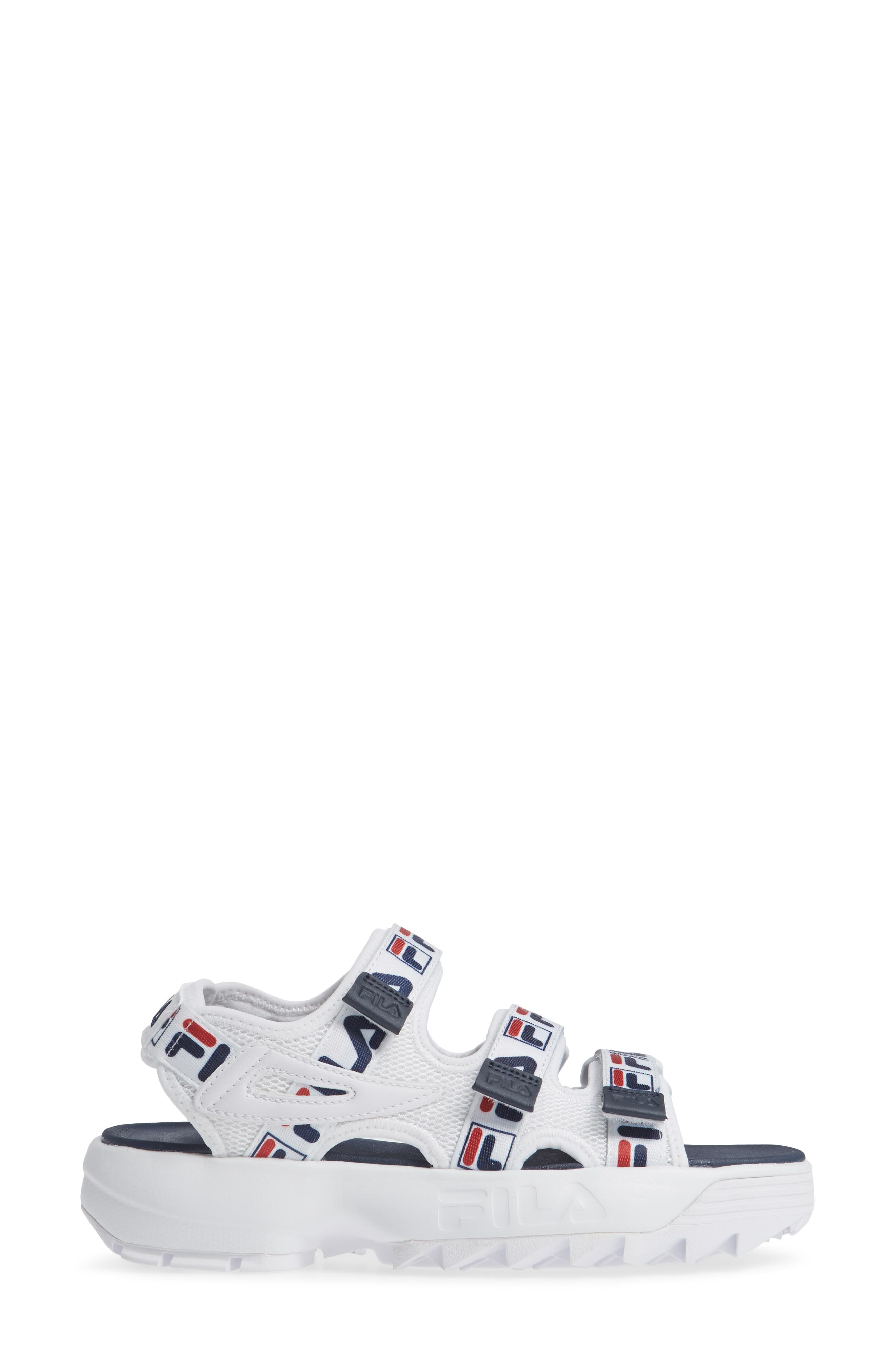 Disruptor Sandal,                             Alternate thumbnail 3, color,                             WHITE/ FILA NAVY