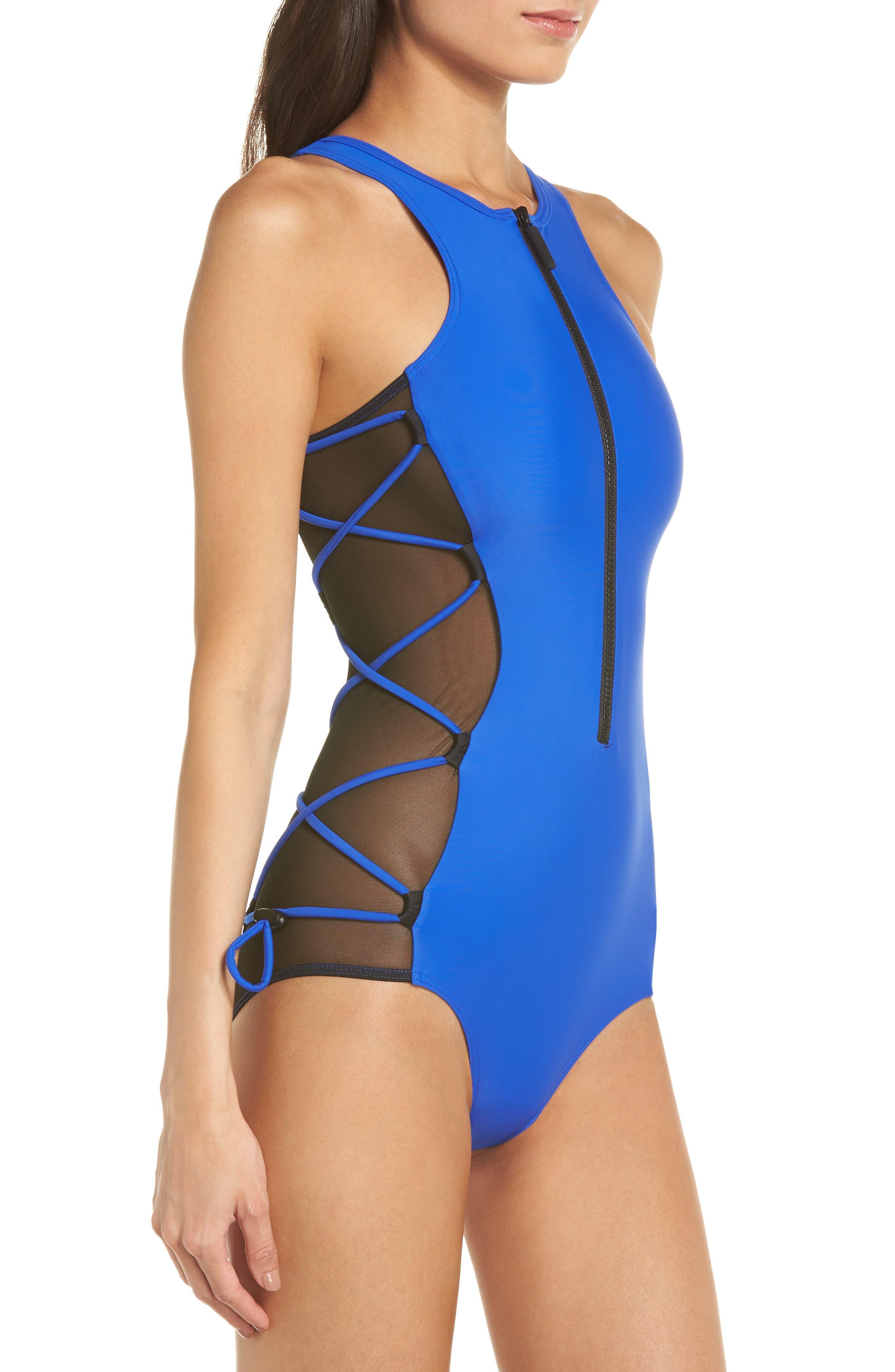 Launch One-Piece Swimsuit,                             Alternate thumbnail 3, color,                             BLUE/ BLACK