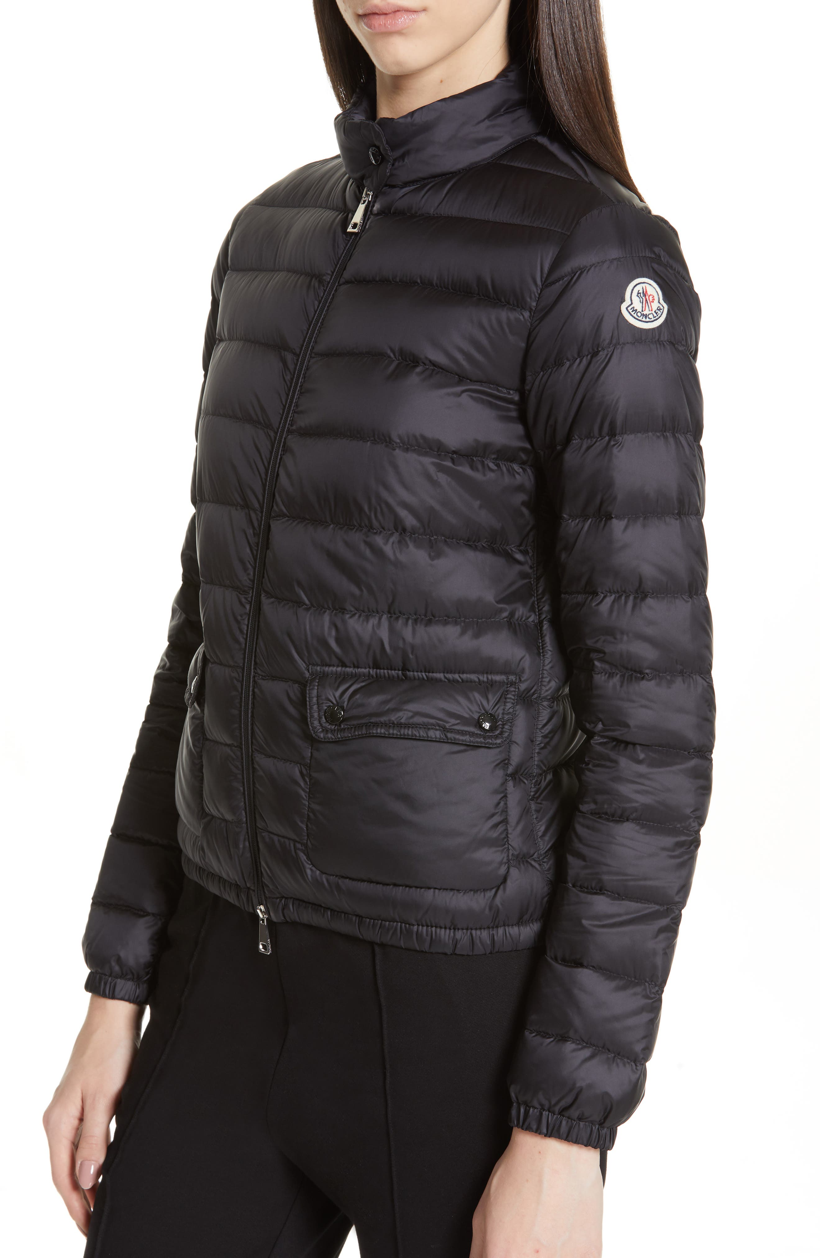 Lans Water Resistant Quilted Down Jacket,                             Alternate thumbnail 4, color,                             BLACK
