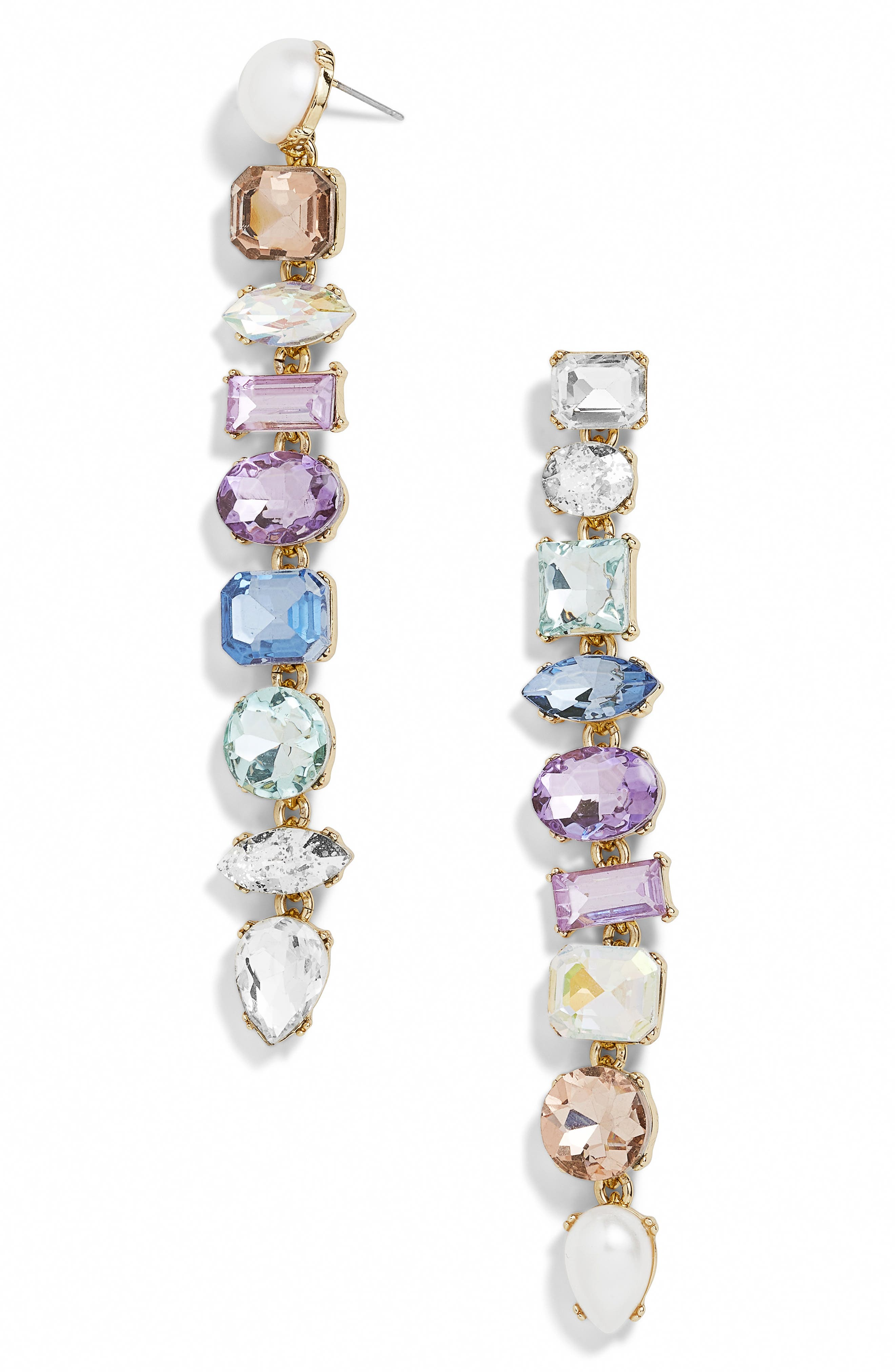 x Micaela Erlanger Girls Night Out Mismatched Drop Earrings,                             Main thumbnail 1, color,                             PASTEL MULTI/ GOLD