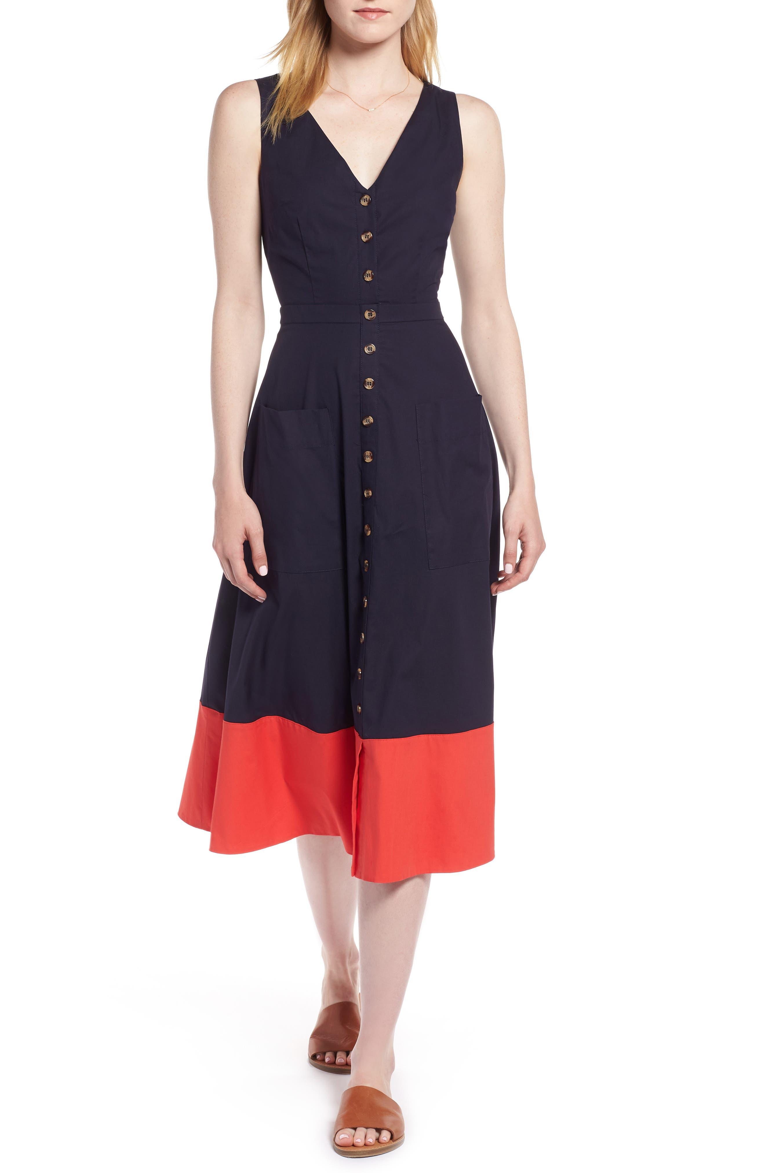 Colorblock Cotton Midi Dress,                         Main,                         color, 410