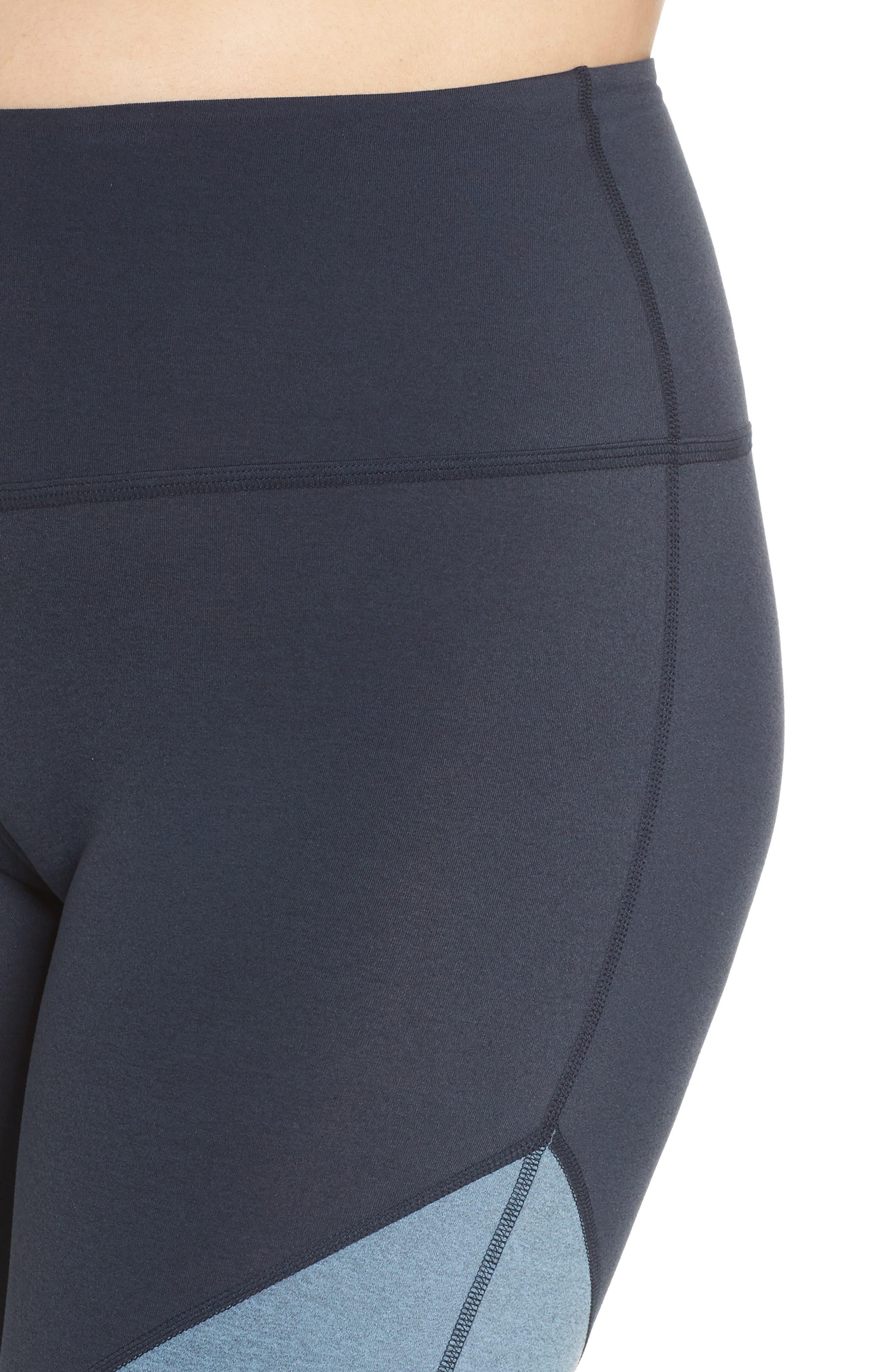 Plush High Waist Midi Leggings,                             Alternate thumbnail 4, color,                             NOCTURNAL NAVY/ LIGHT BLUE