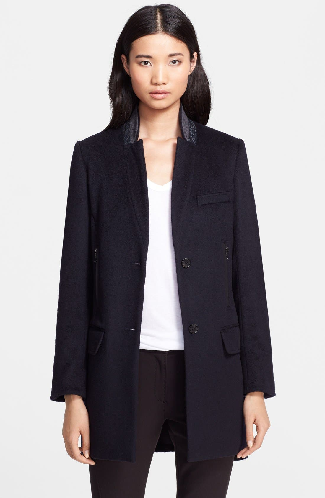 Wool Car Coat with Removable Dickey & Cuffs,                             Alternate thumbnail 4, color,                             410