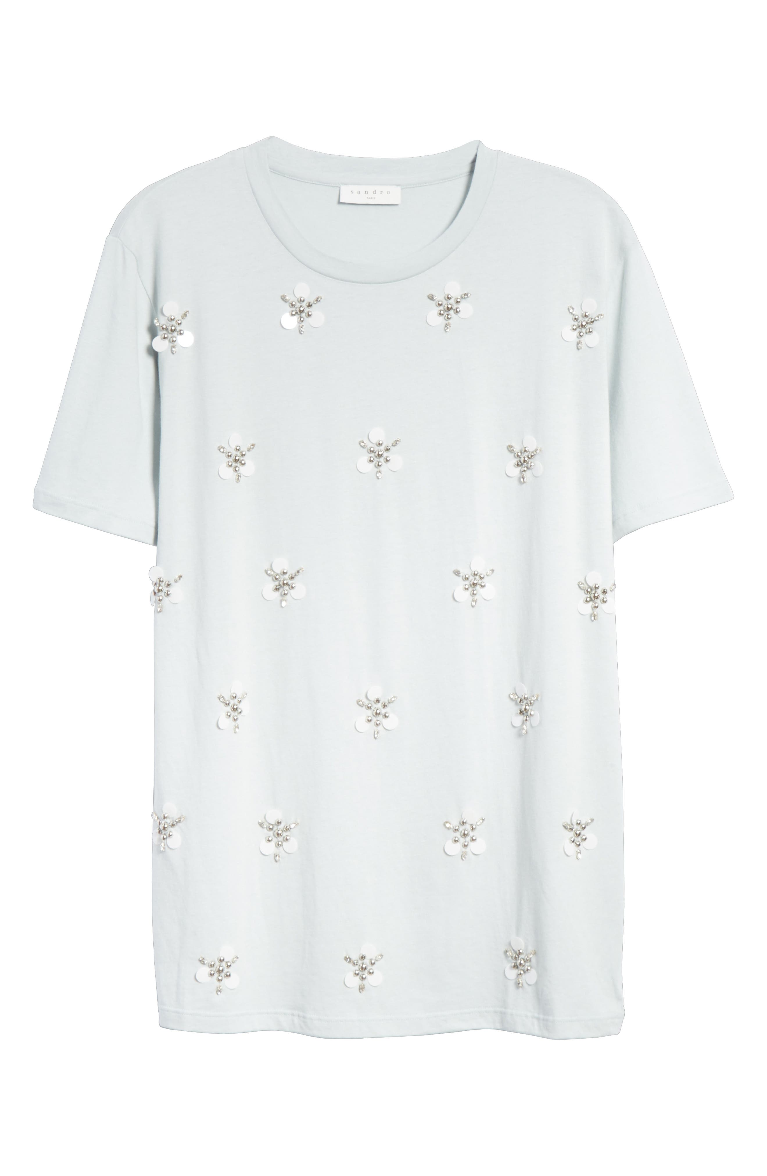 Beaded Blossoms Cotton Blend Tee,                             Alternate thumbnail 6, color,