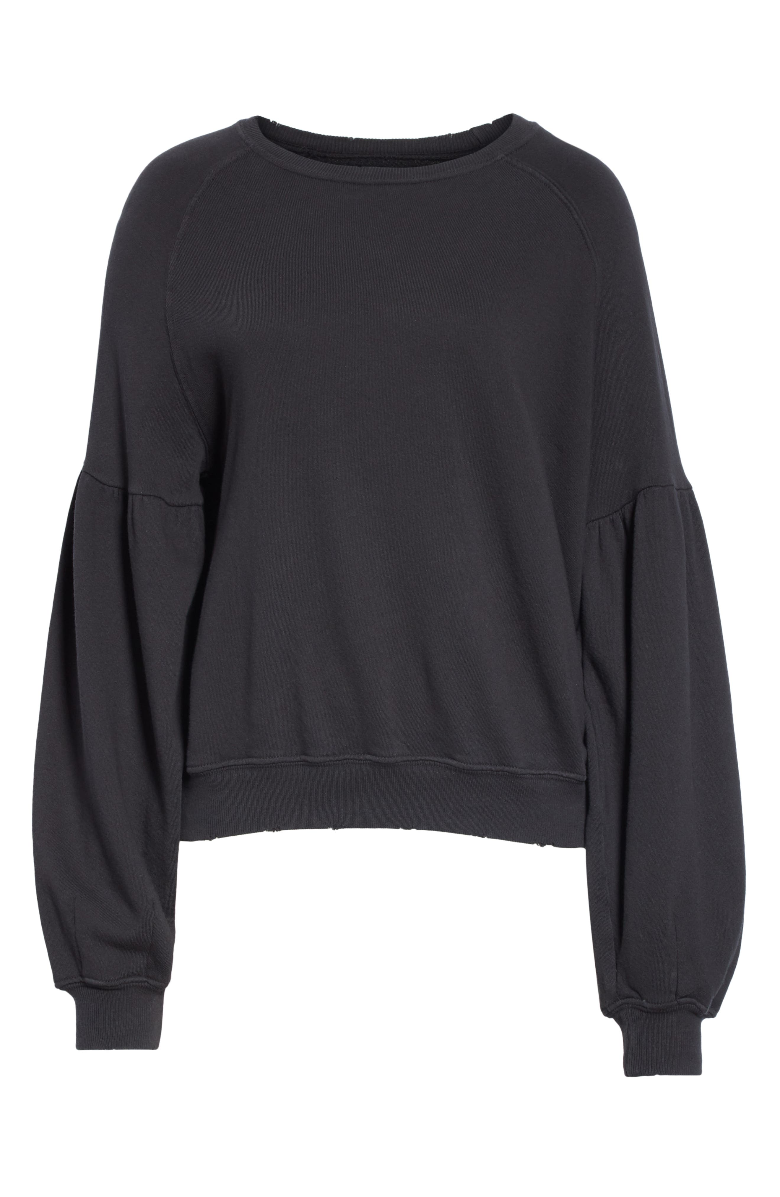 THE GREAT.,                             The Bishop Sleeve Sweatshirt,                             Alternate thumbnail 6, color,                             ALMOST BLACK