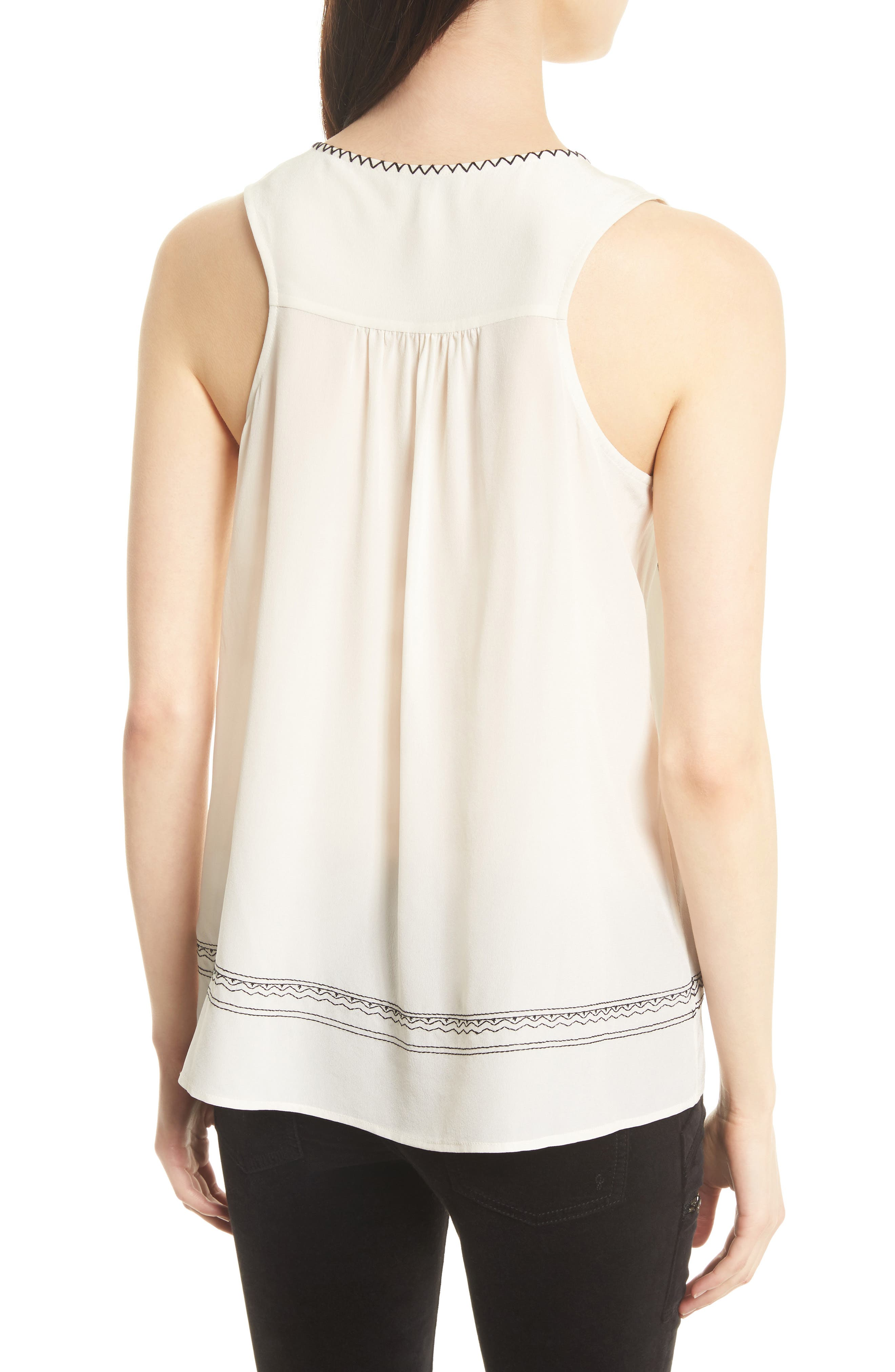 Merles Embroidered Silk Top,                             Alternate thumbnail 2, color,                             123