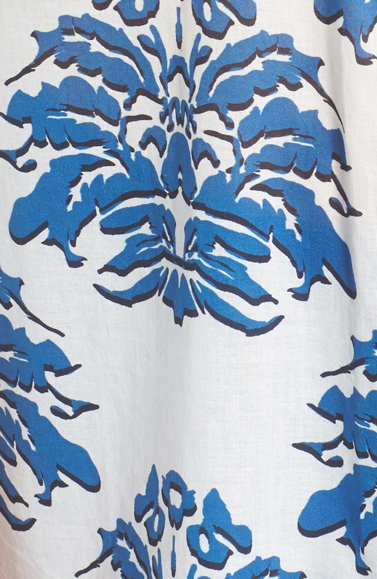 Porcelain Print Oversize Cotton Blouse,                             Alternate thumbnail 5, color,                             468