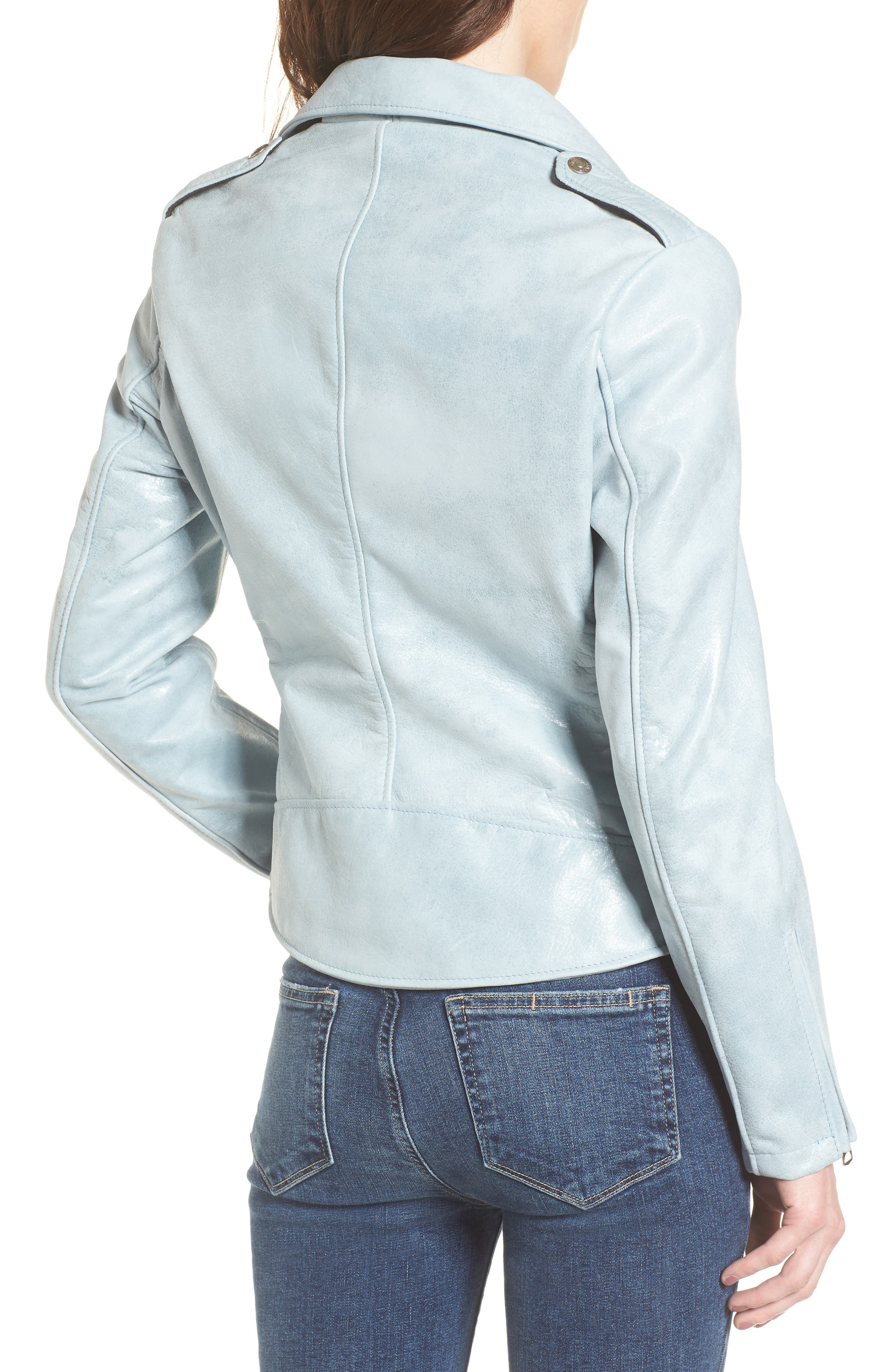 Perfecto Distressed Leather Boyfriend Jacket,                             Alternate thumbnail 5, color,