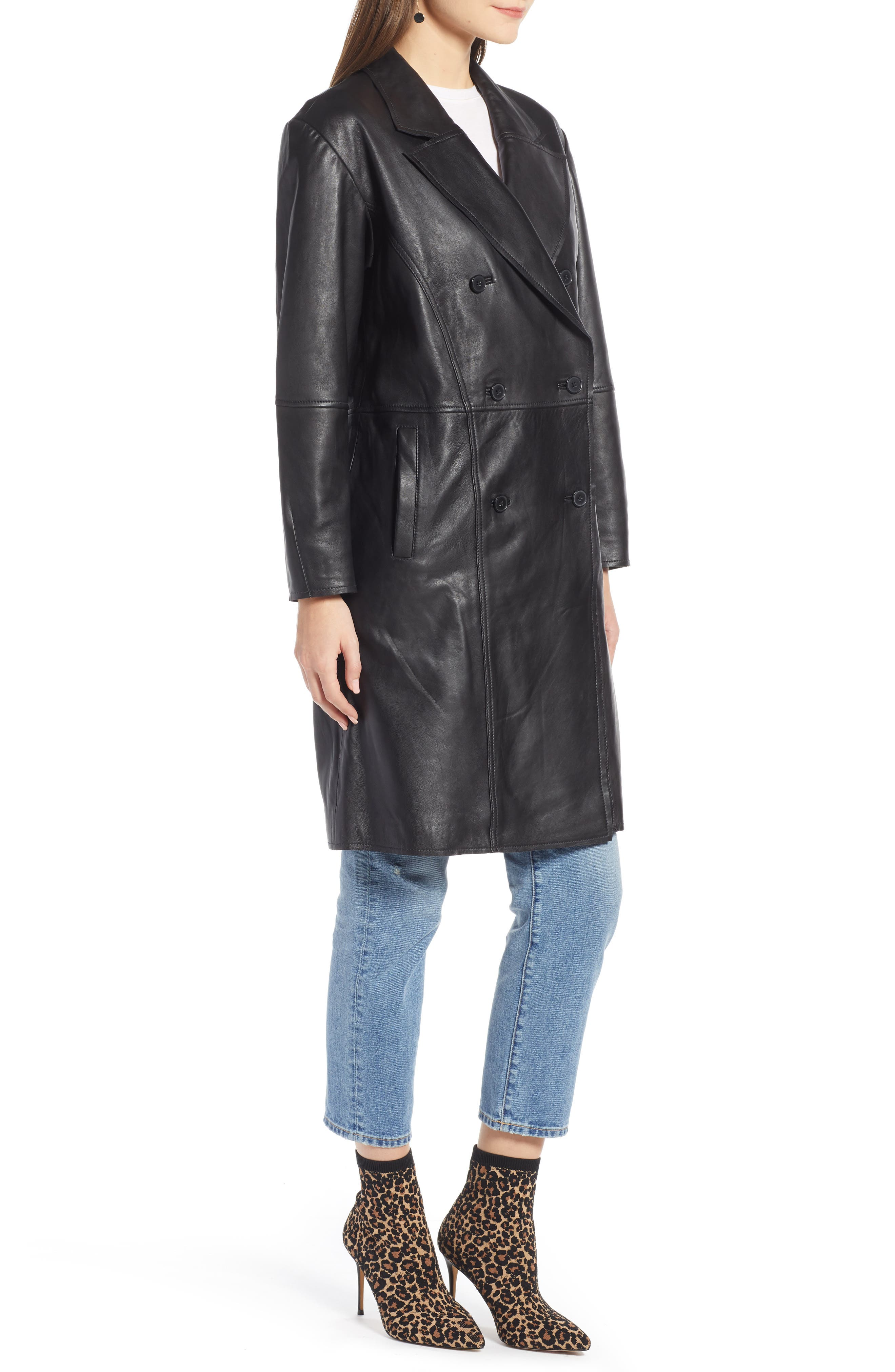 Double Breasted Leather Coat,                             Alternate thumbnail 3, color,                             BLACK