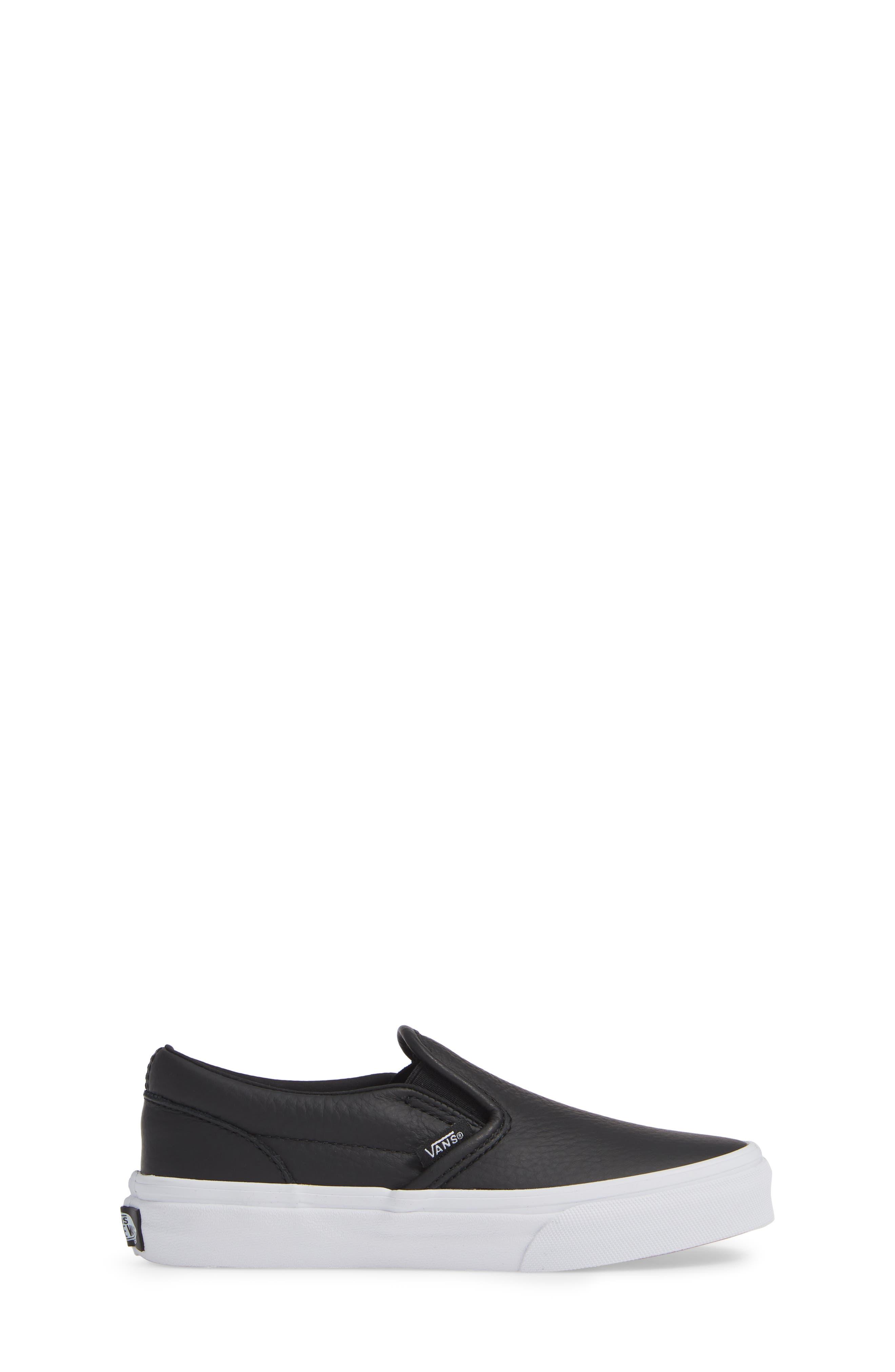 'Classic' Slip-On Sneaker,                             Alternate thumbnail 3, color,                             BLACK/ TRUE WHITE LEATHER