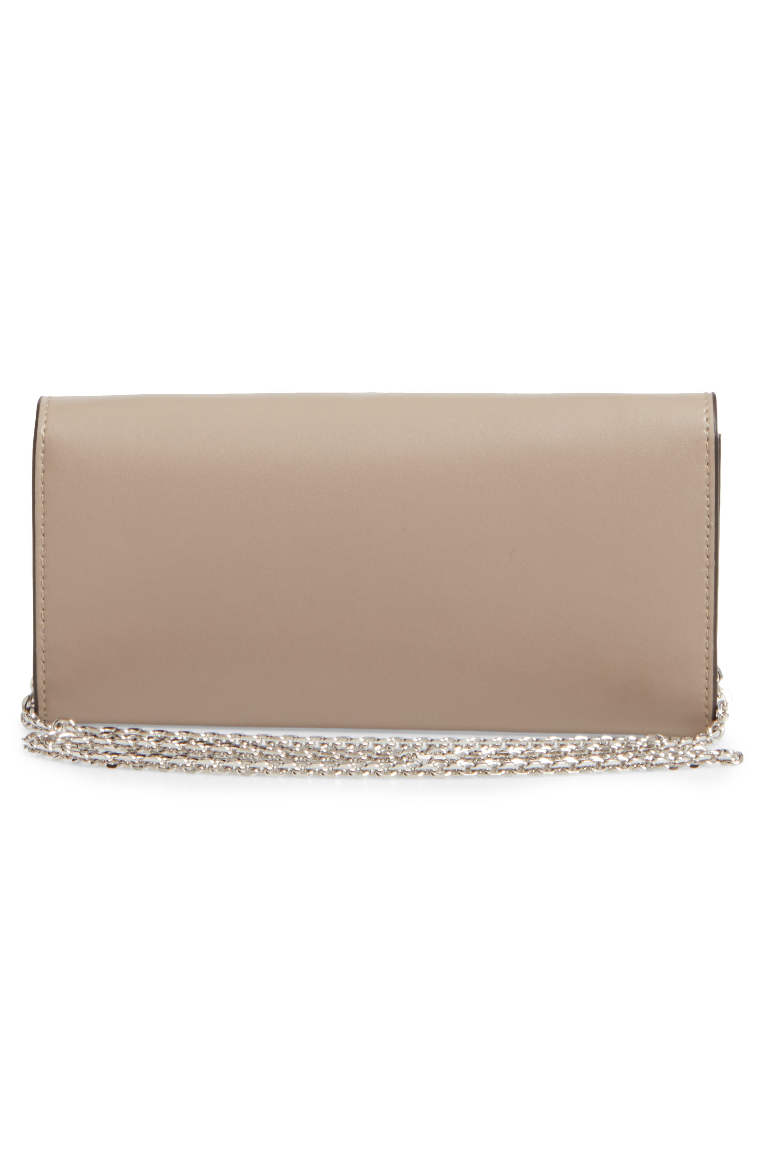 Calfskin Leather Wallet on a Chain,                             Alternate thumbnail 3, color,                             050