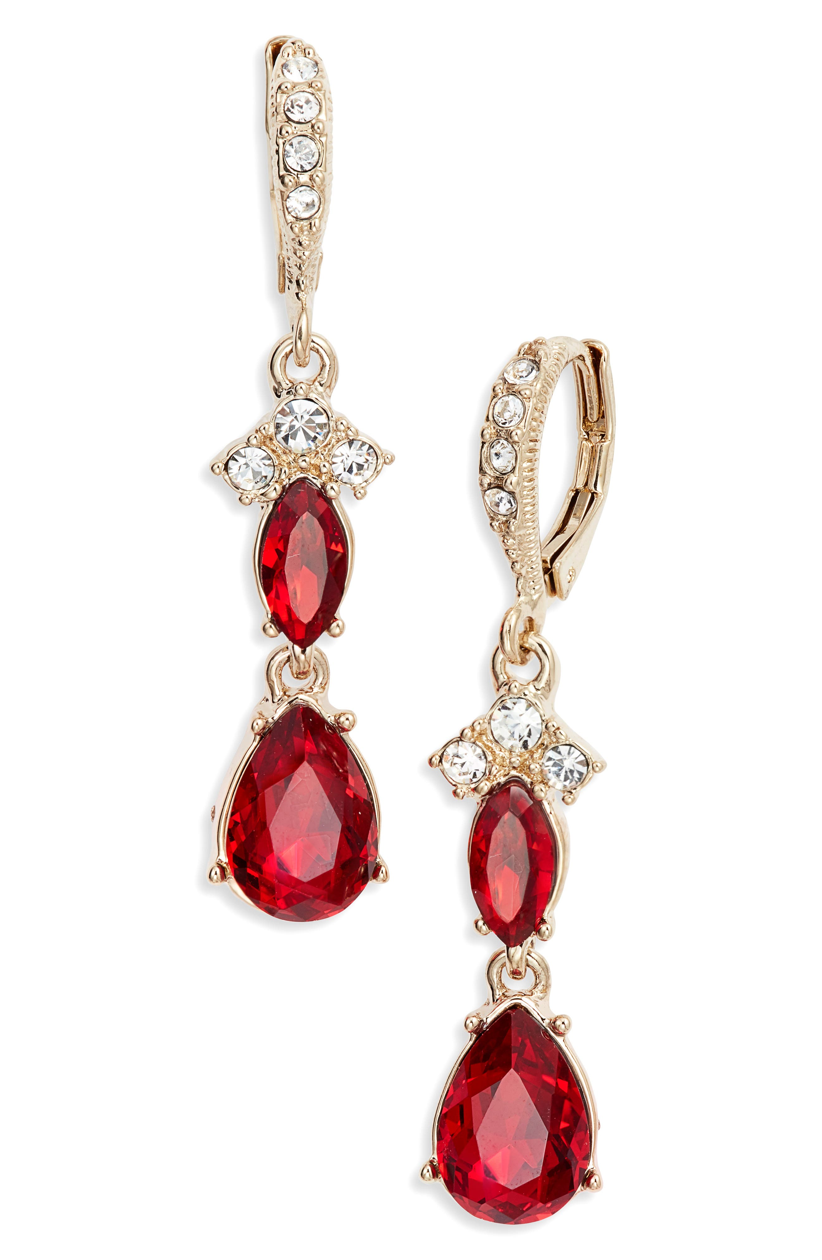 Crystral Drop Earrings,                             Main thumbnail 1, color,                             RED/ GOLD