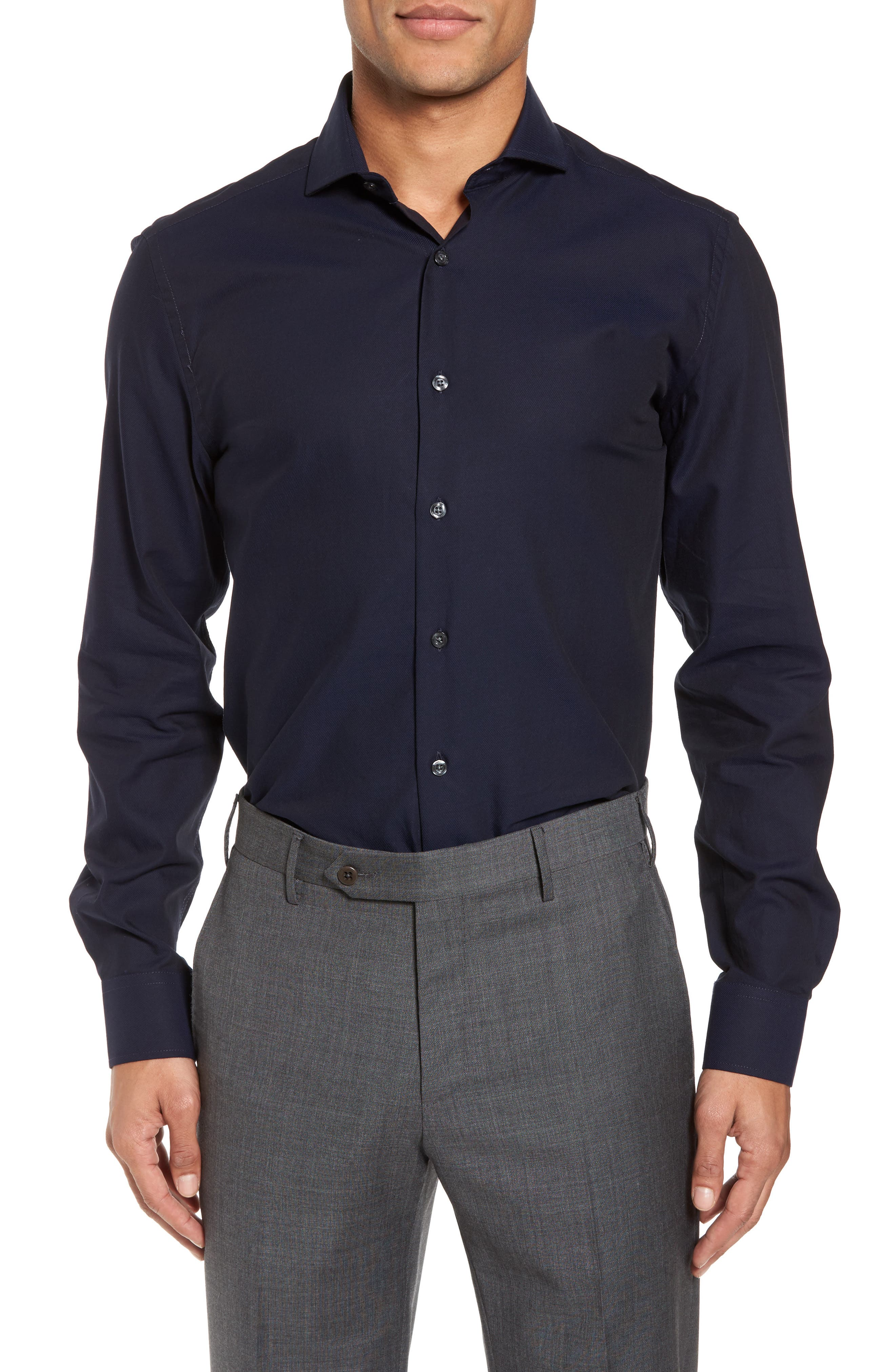 Trim Fit Solid Dress Shirt,                         Main,                         color, NAVY
