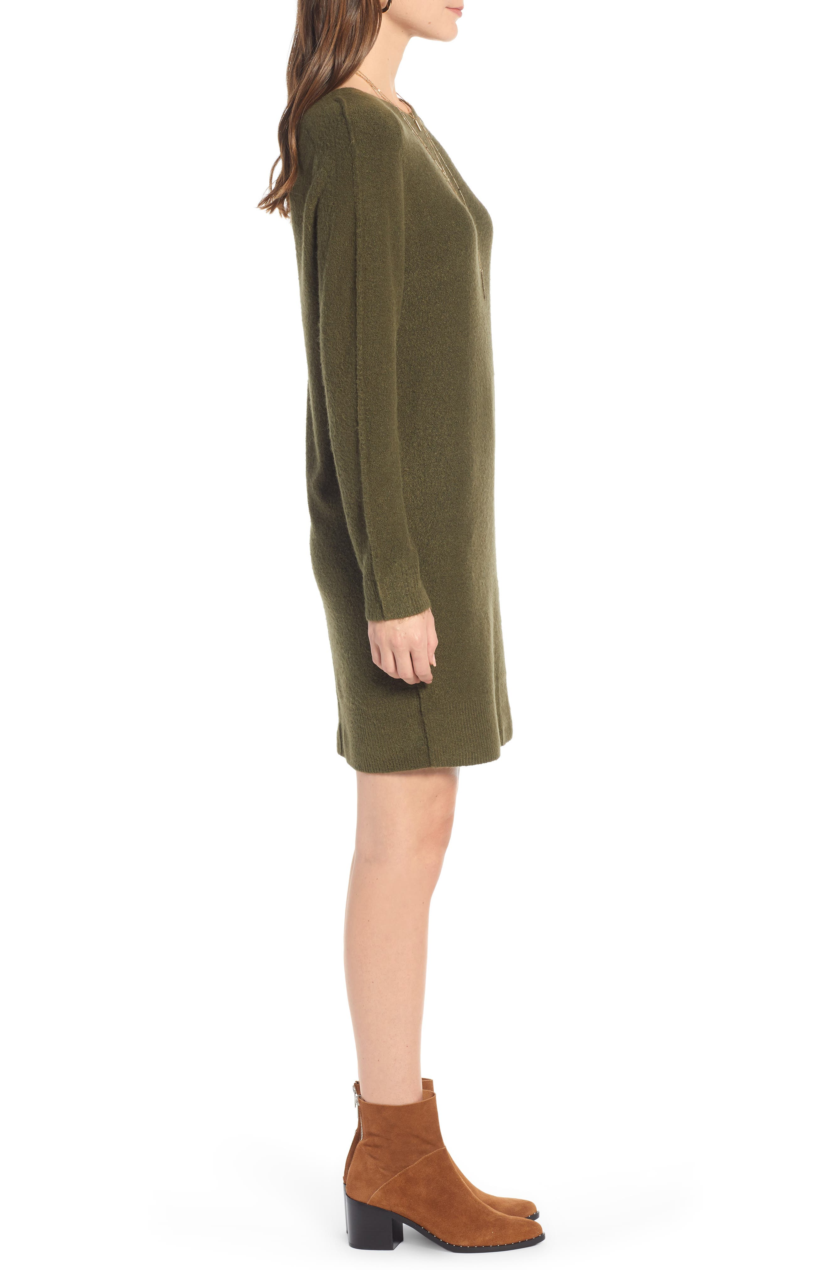Cozy Sweater Dress,                             Alternate thumbnail 3, color,                             OLIVE BURNT