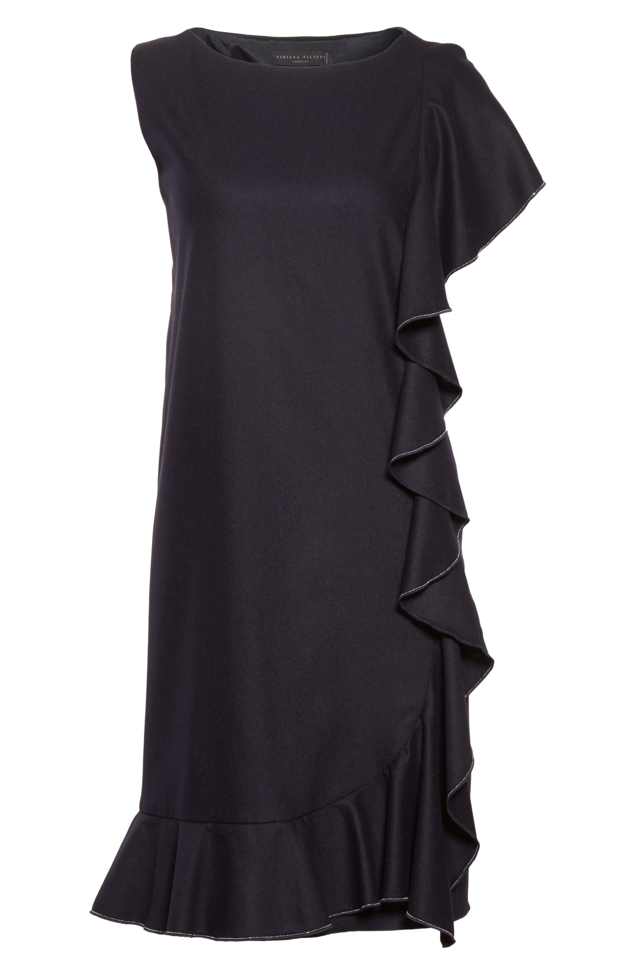 FABIANA FILIPPI,                             Stretch Wool & Cashmere Ruffle Dress,                             Alternate thumbnail 6, color,                             400