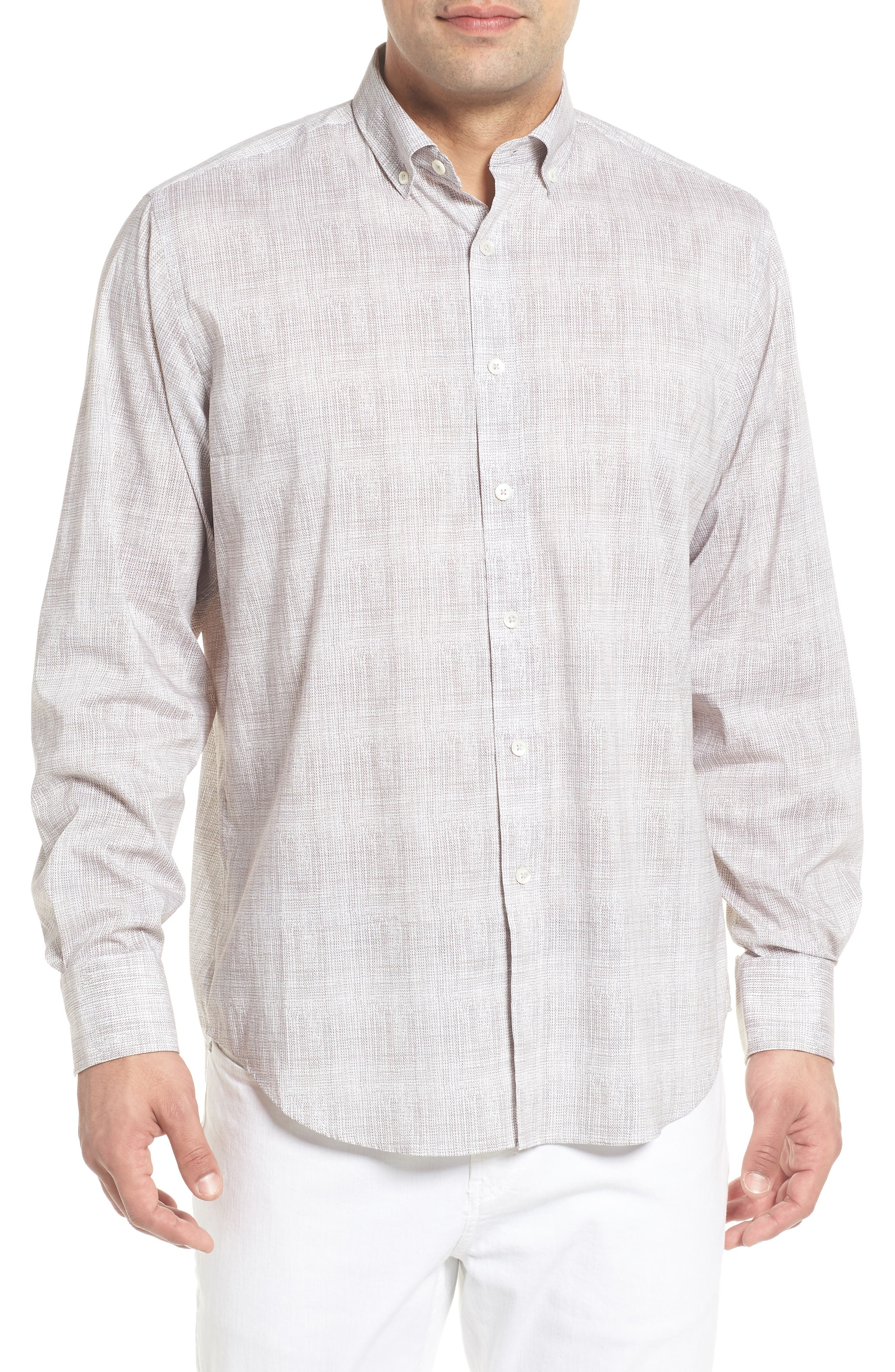 Classic Fit Marled Performance Sport Shirt,                             Main thumbnail 1, color,                             PLATINUM