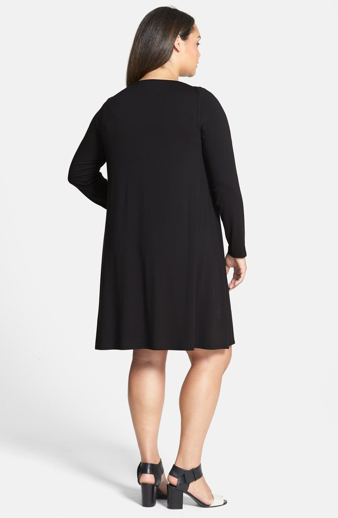 Bateau Neck Jersey Shift Dress,                             Alternate thumbnail 8, color,                             002