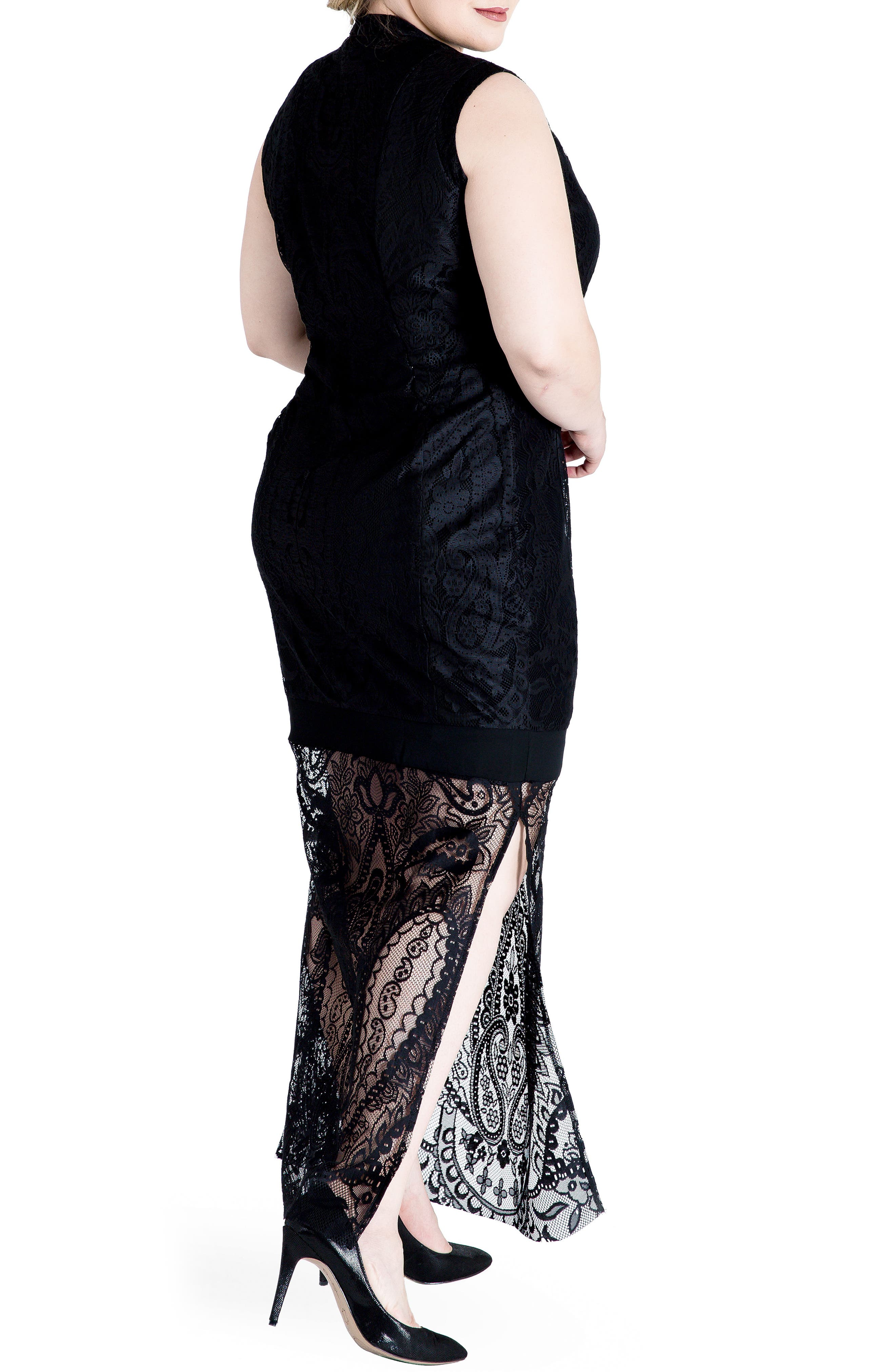 Clover Lace Maxi Dress,                             Alternate thumbnail 2, color,                             001