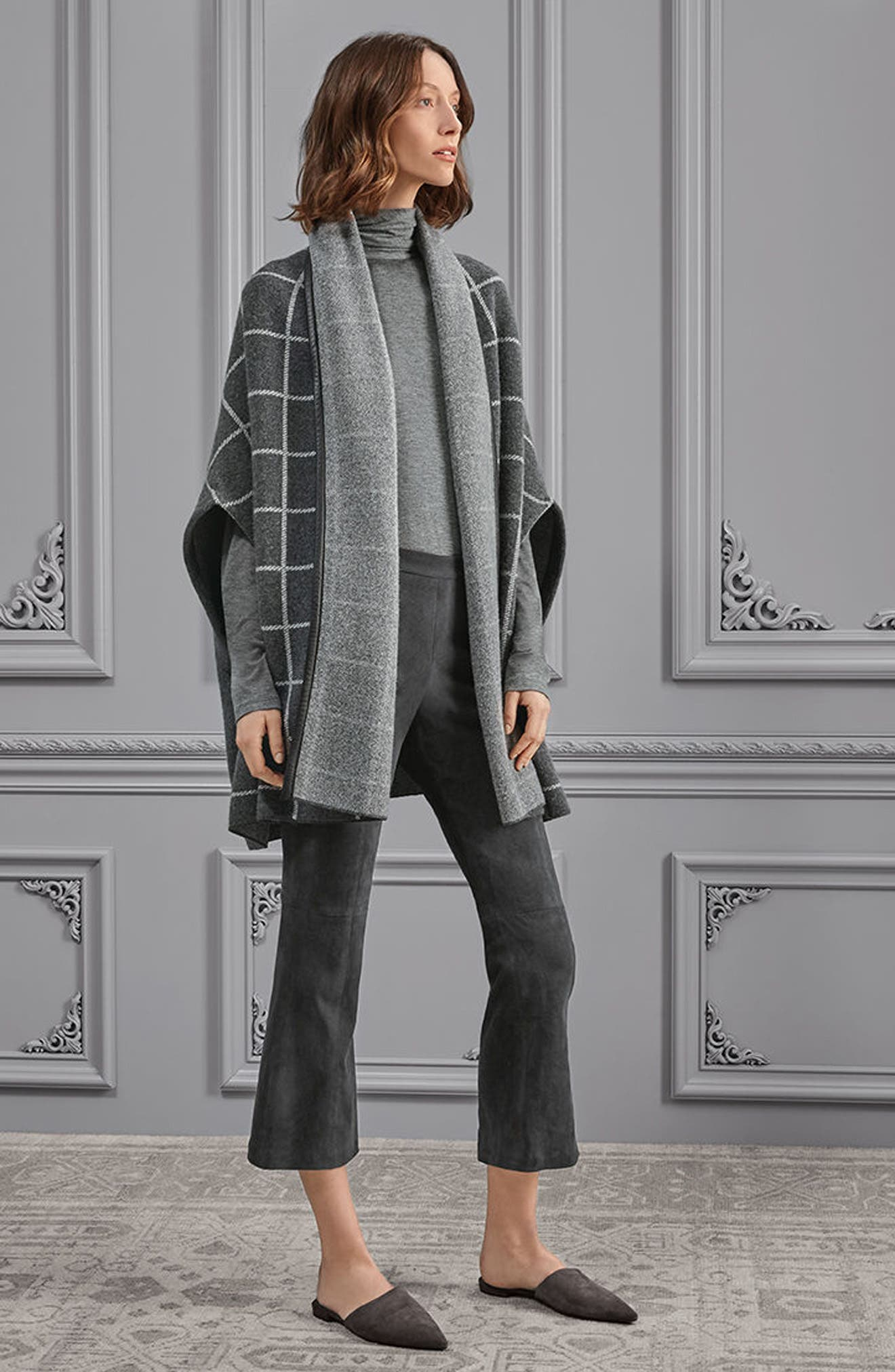 Leather Trim Windowpane Felted Wool Blend Cardigan,                             Alternate thumbnail 7, color,