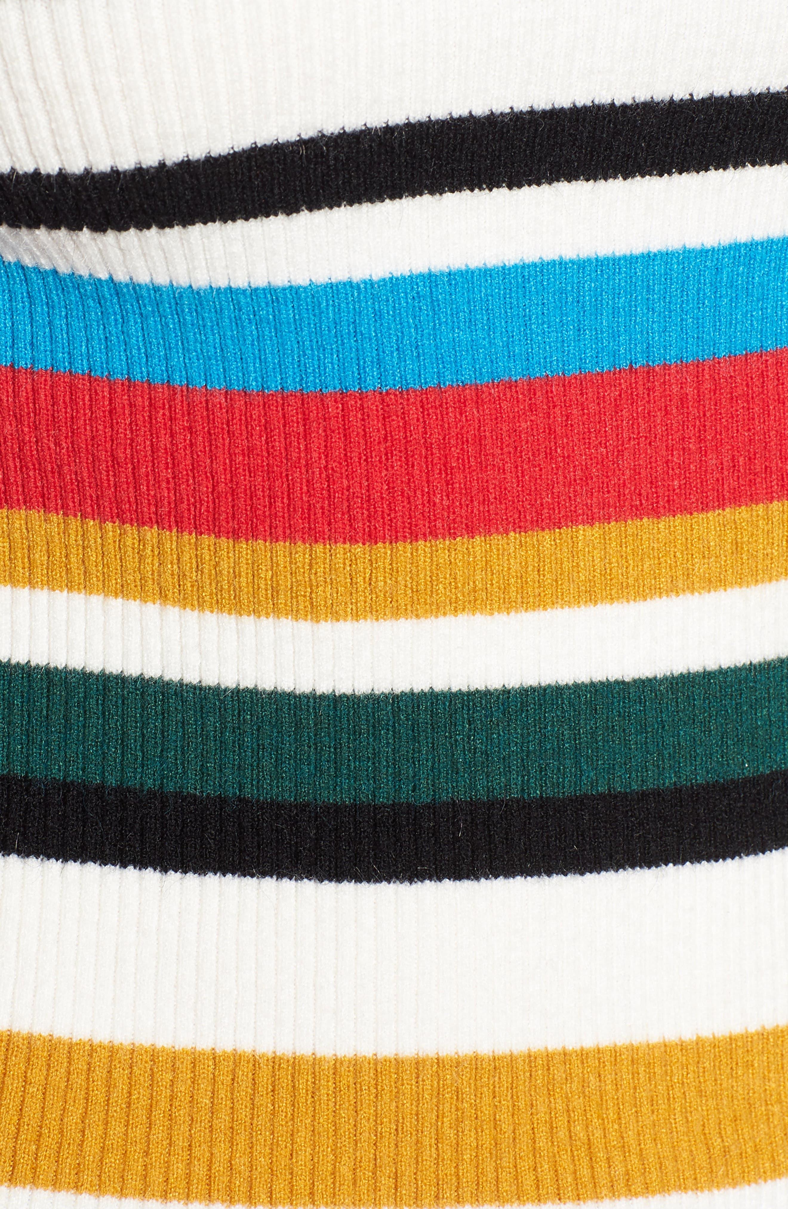 Stripe Rib Knit Sweater,                             Alternate thumbnail 5, color,                             100