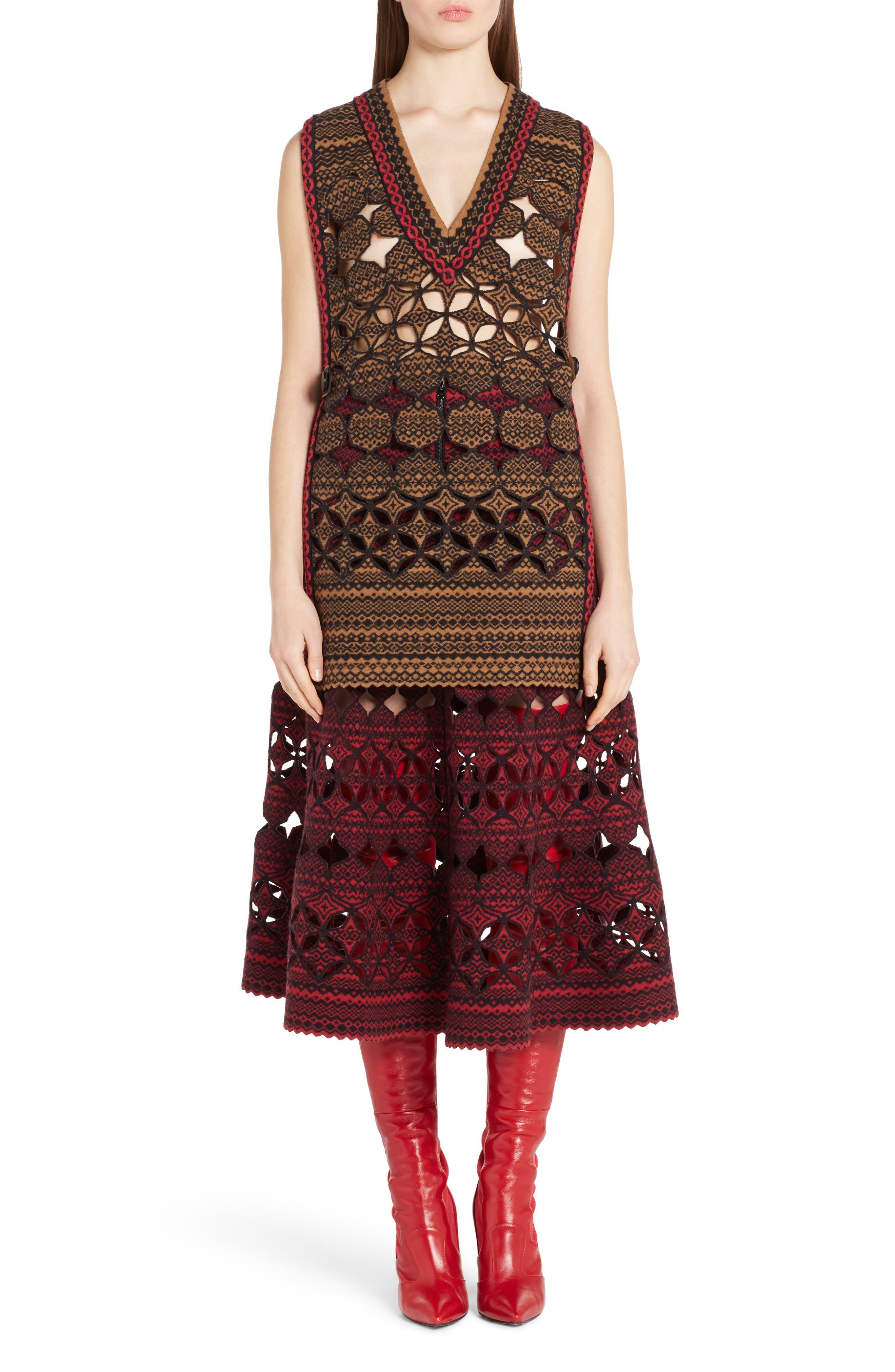 Fair Isle Wool Blend Skirt,                             Alternate thumbnail 7, color,                             600