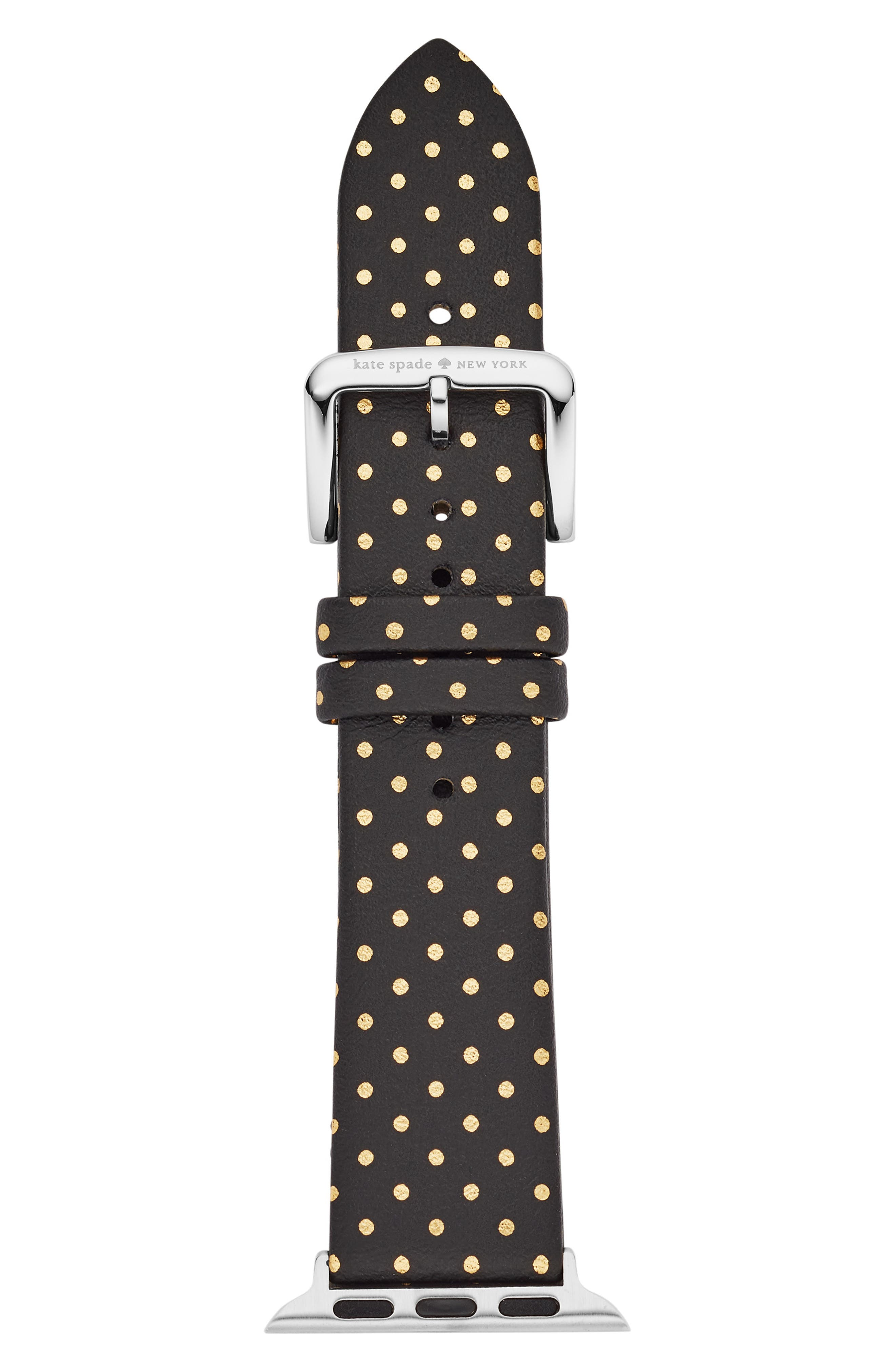 Apple<sup>®</sup> Watch strap, 38mm,                         Main,                         color, BLACK/ GOLD
