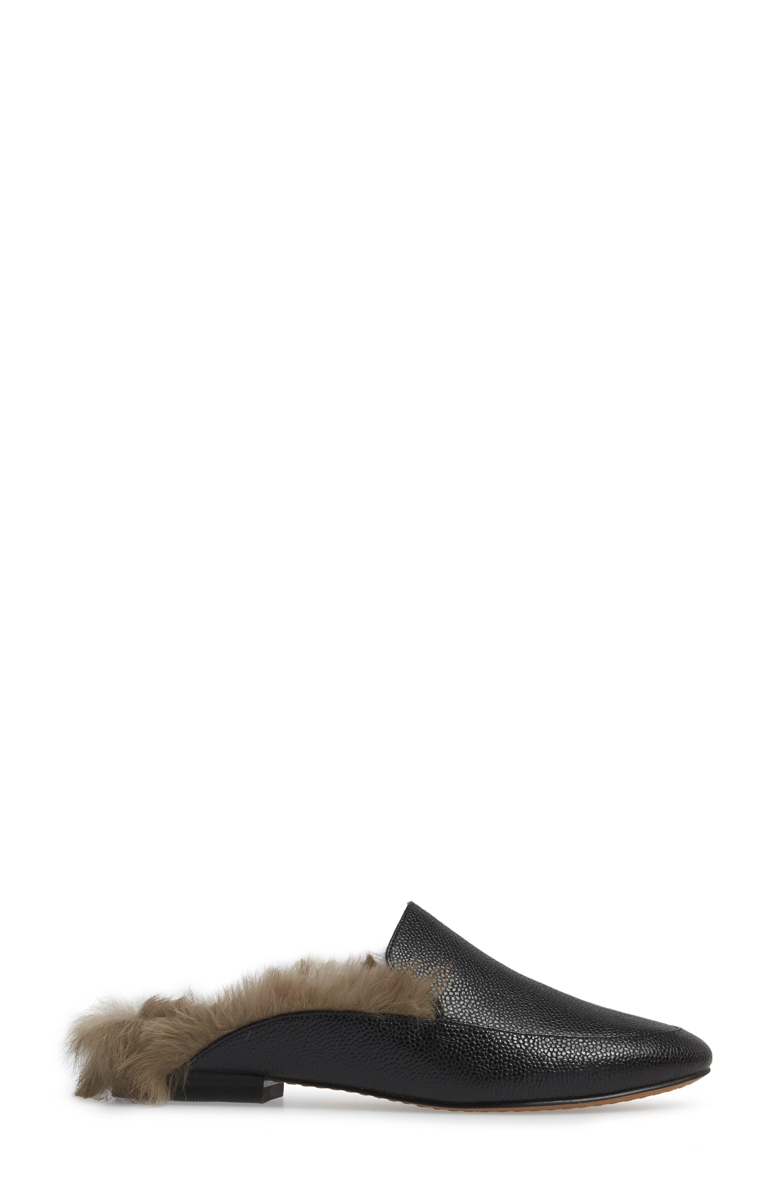 Asha Genuine Rabbit Fur Mule,                             Alternate thumbnail 3, color,                             007