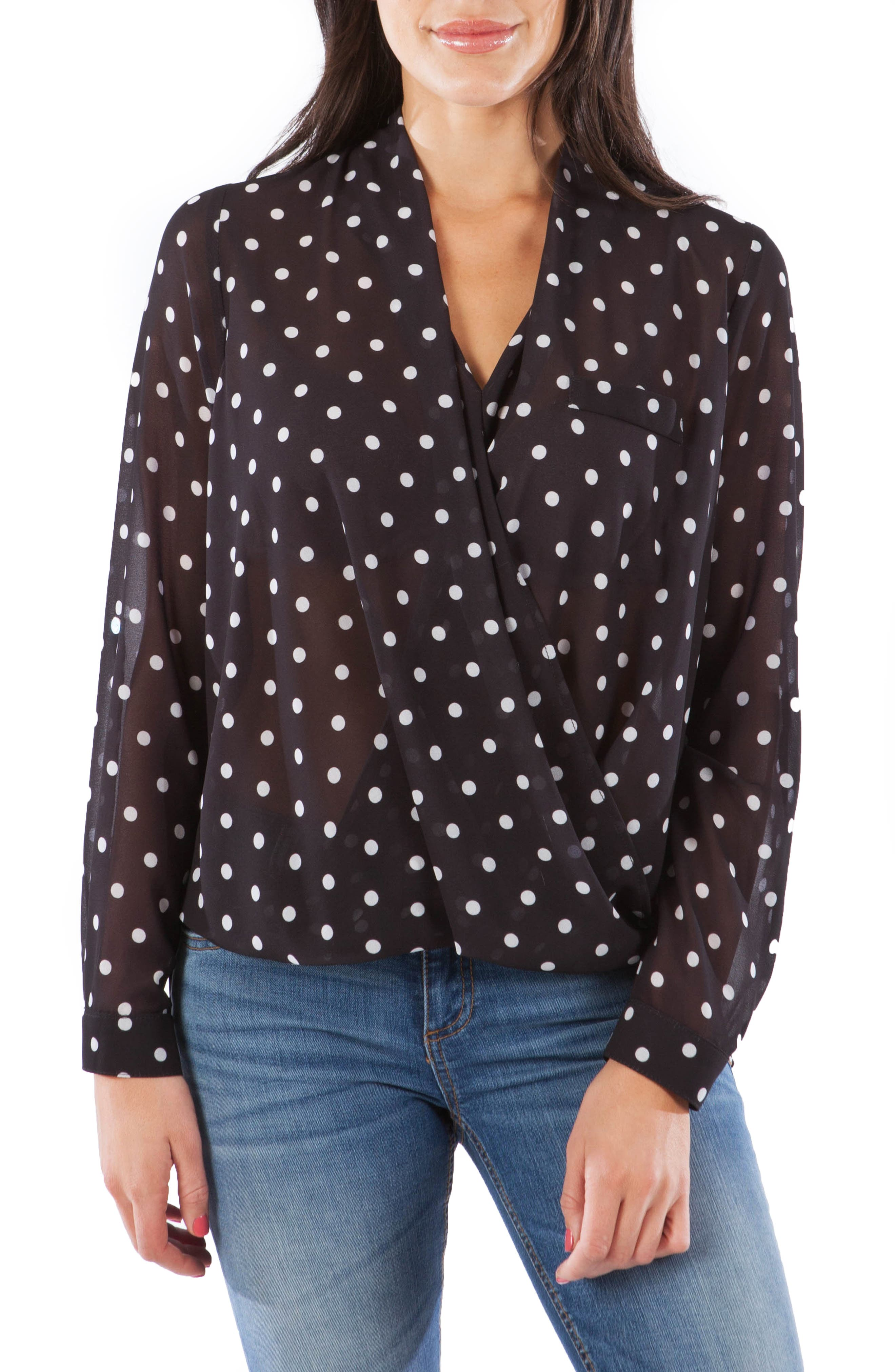 Imani Faux Wrap Top, Main, color, BLACK/ WHITE
