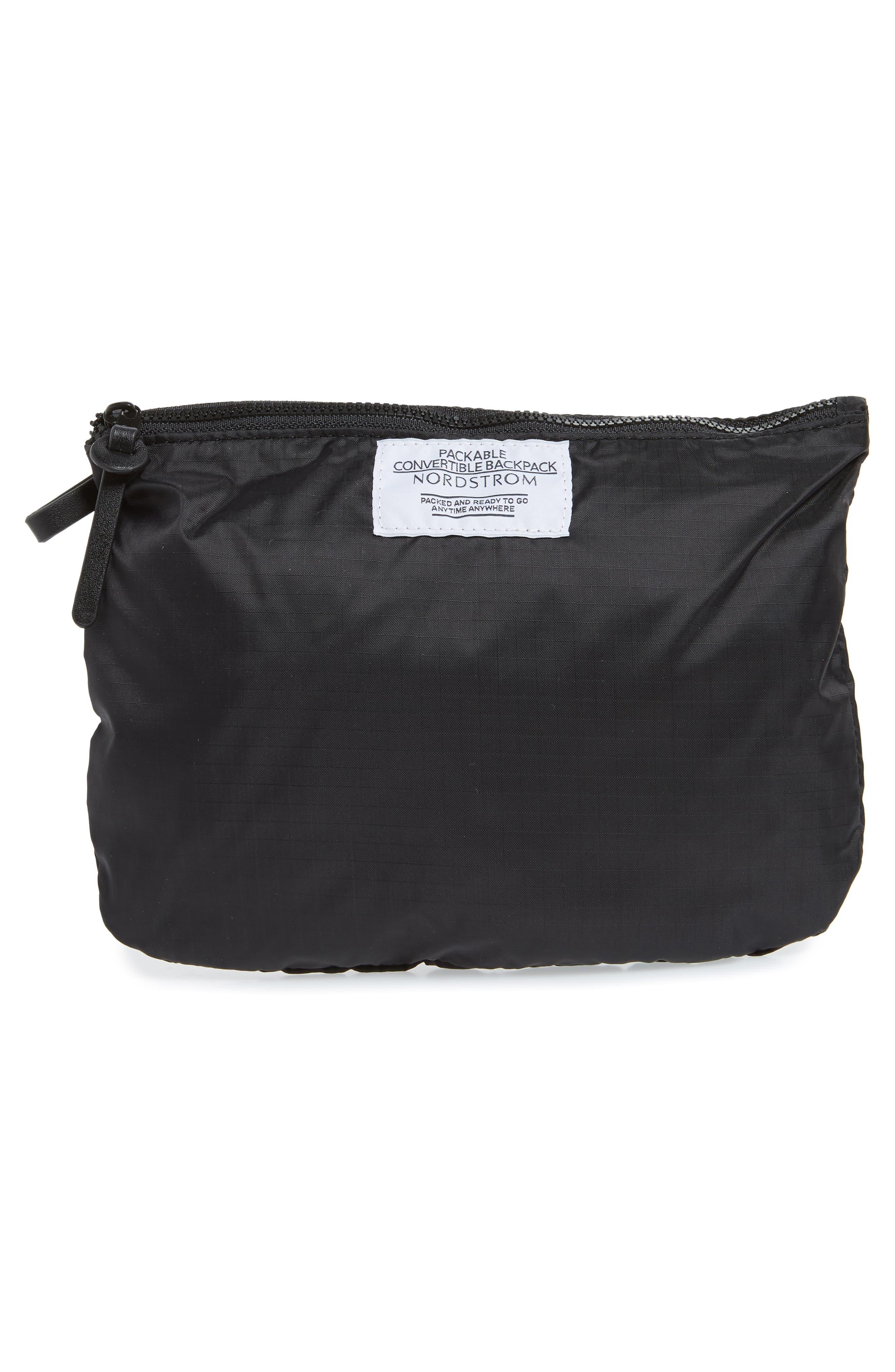 Packable Convertible Backpack,                             Alternate thumbnail 8, color,                             BLACK
