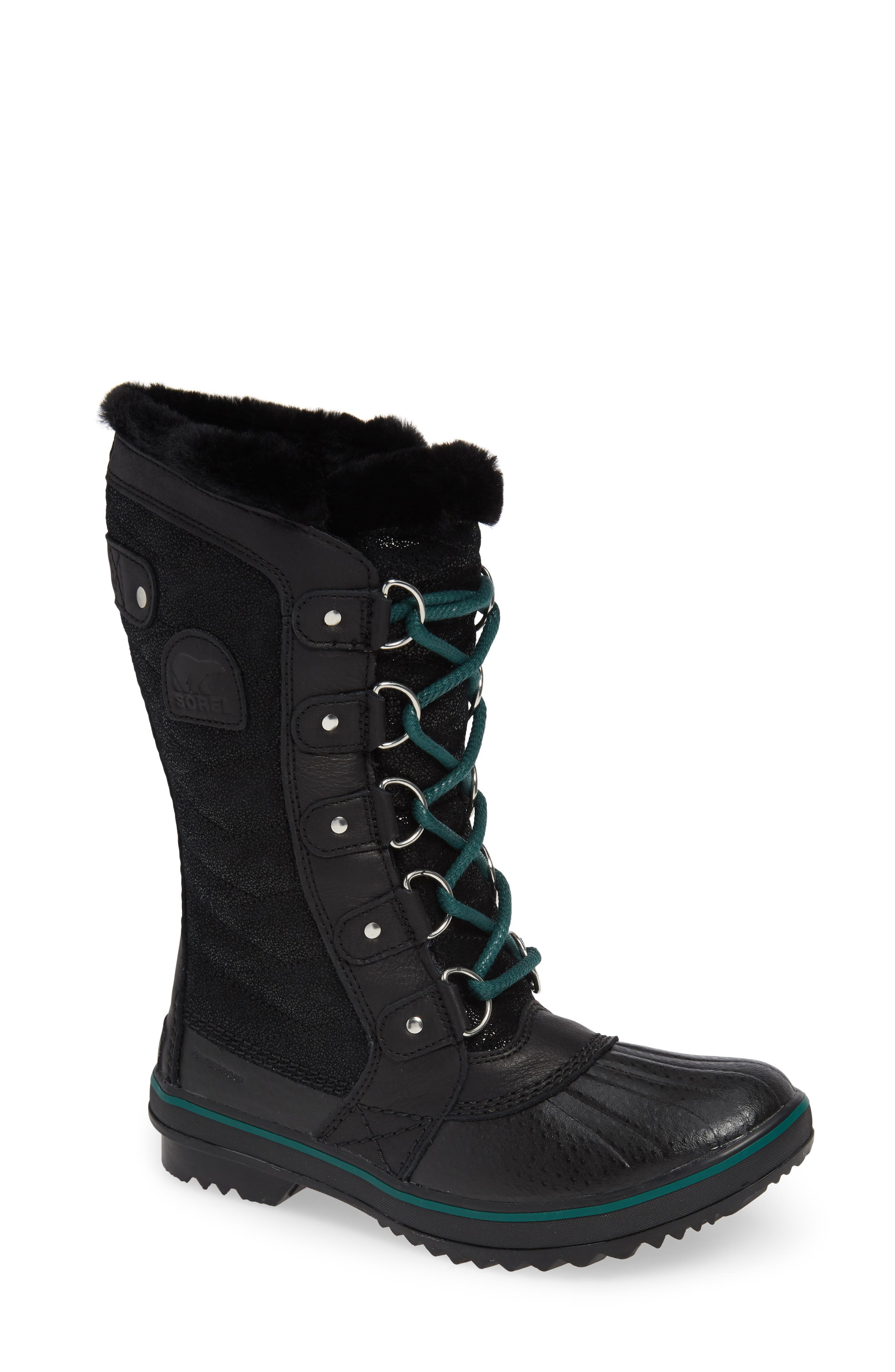 Tofino Faux Fur & Genuine Shearling Lined Waterproof Boot,                             Main thumbnail 1, color,                             BLACK