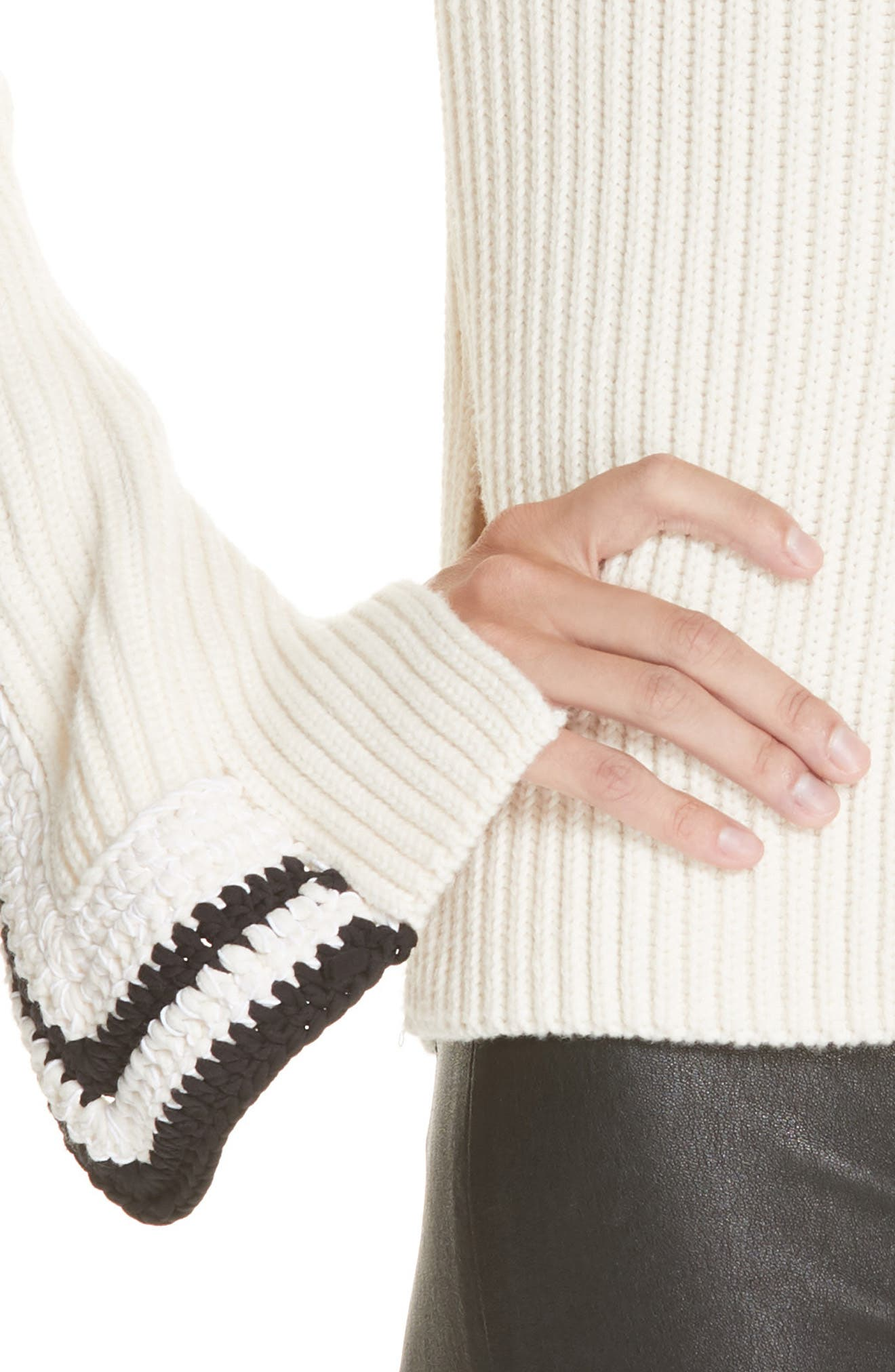 Crochet Cuff Wool & Cotton Sweater,                             Alternate thumbnail 4, color,                             BUTTER