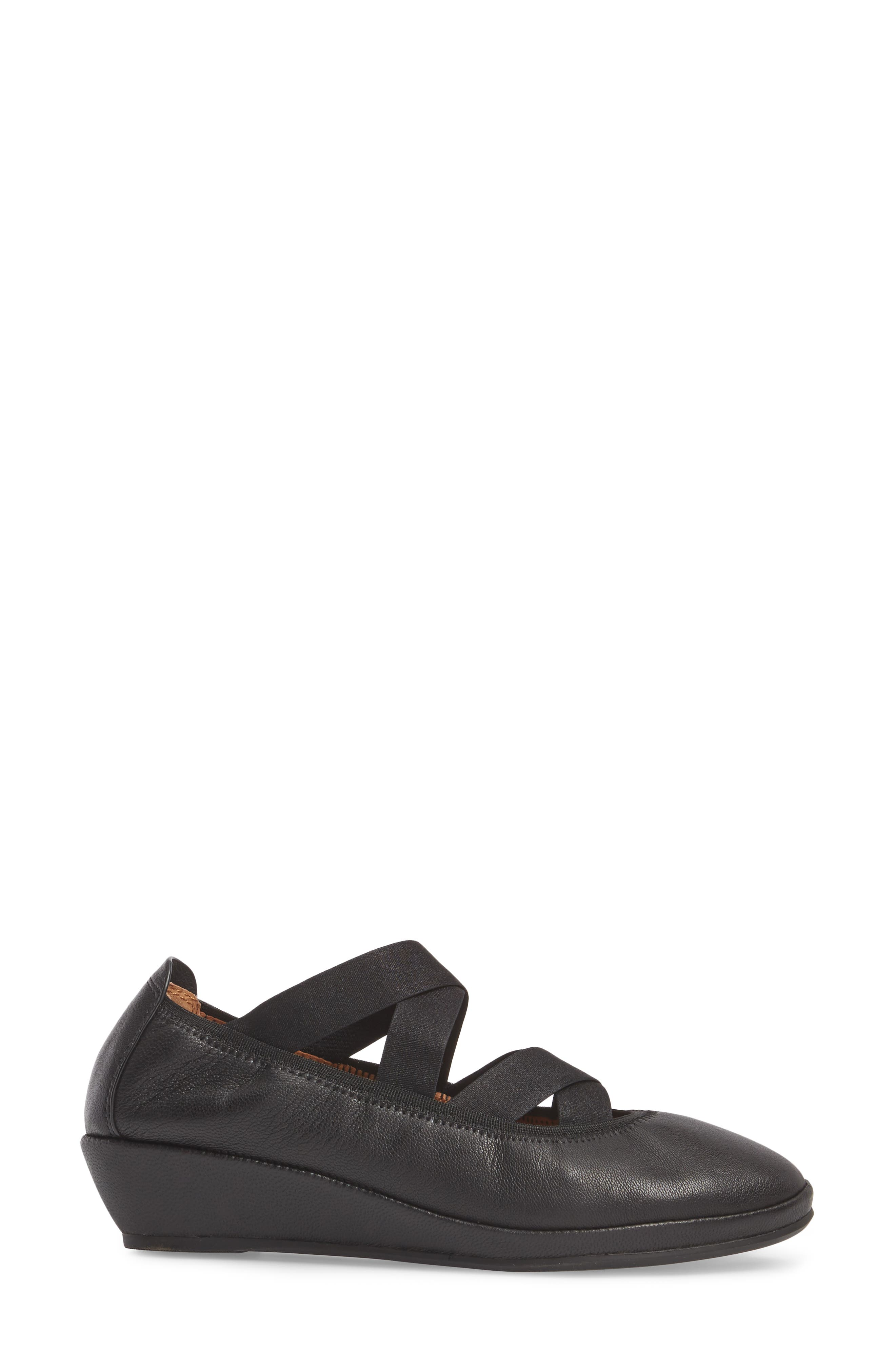 by Kenneth Cole Natalie Ballet Wedge,                             Alternate thumbnail 3, color,                             BLACK LEATHER