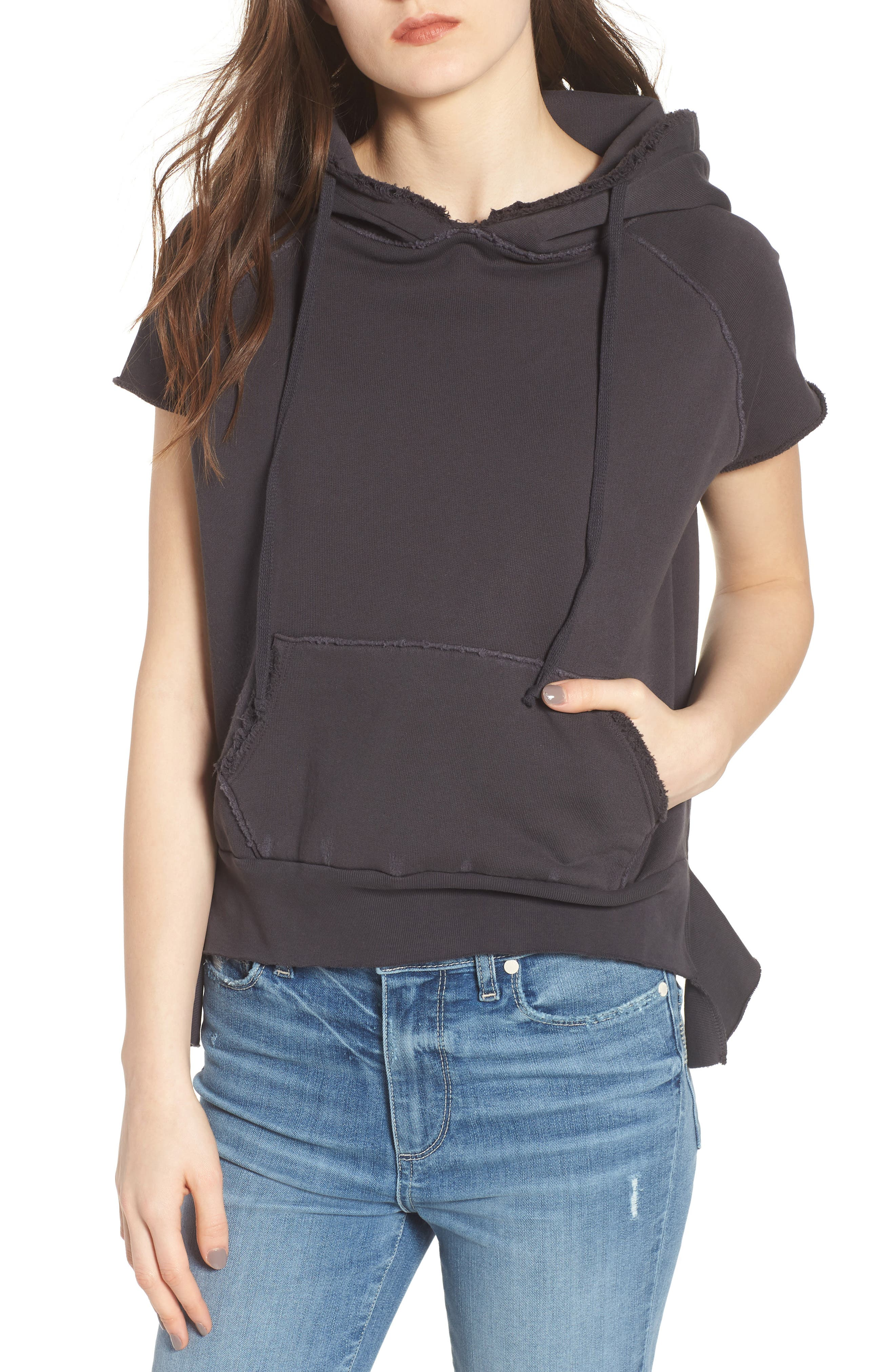 Short Sleeve Pullover Hoodie,                         Main,                         color, 020