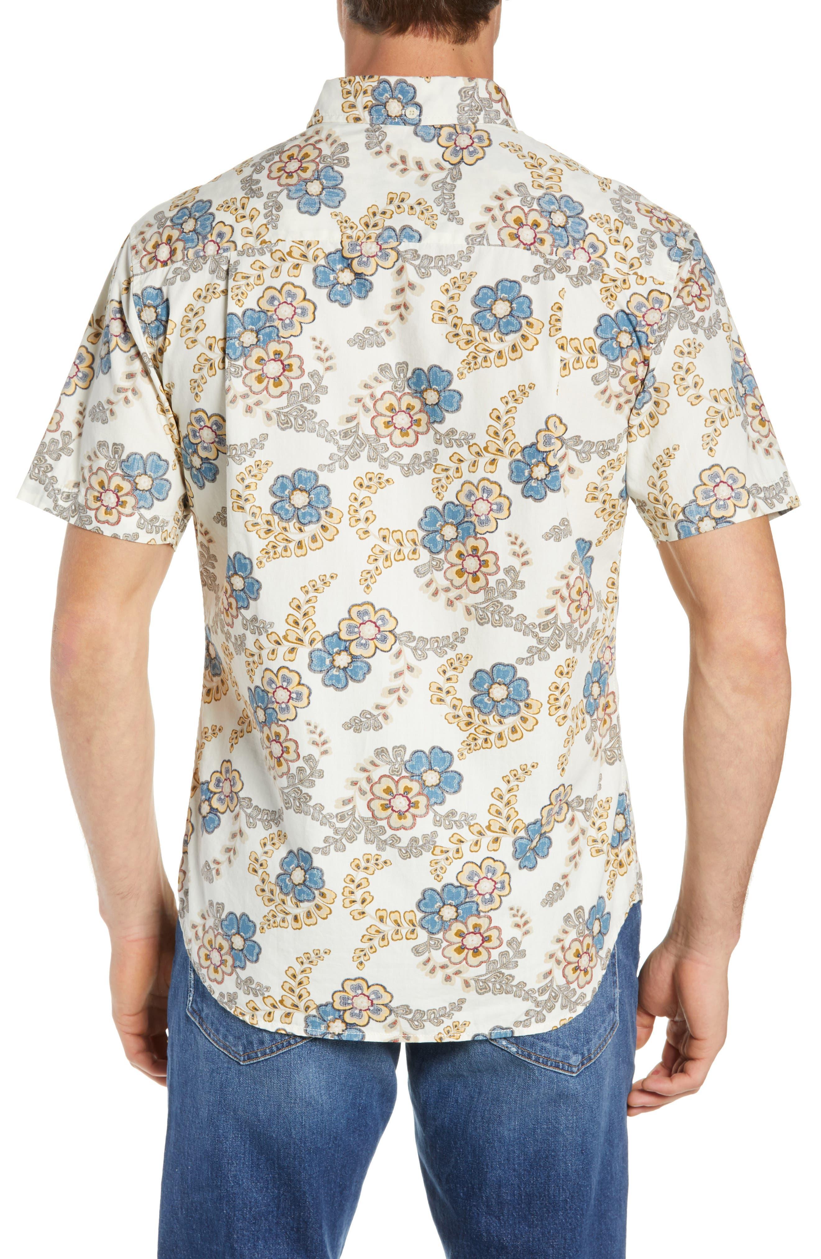 Regular Fit Furoshiki Floral Sport Shirt,                             Alternate thumbnail 3, color,                             NATURAL