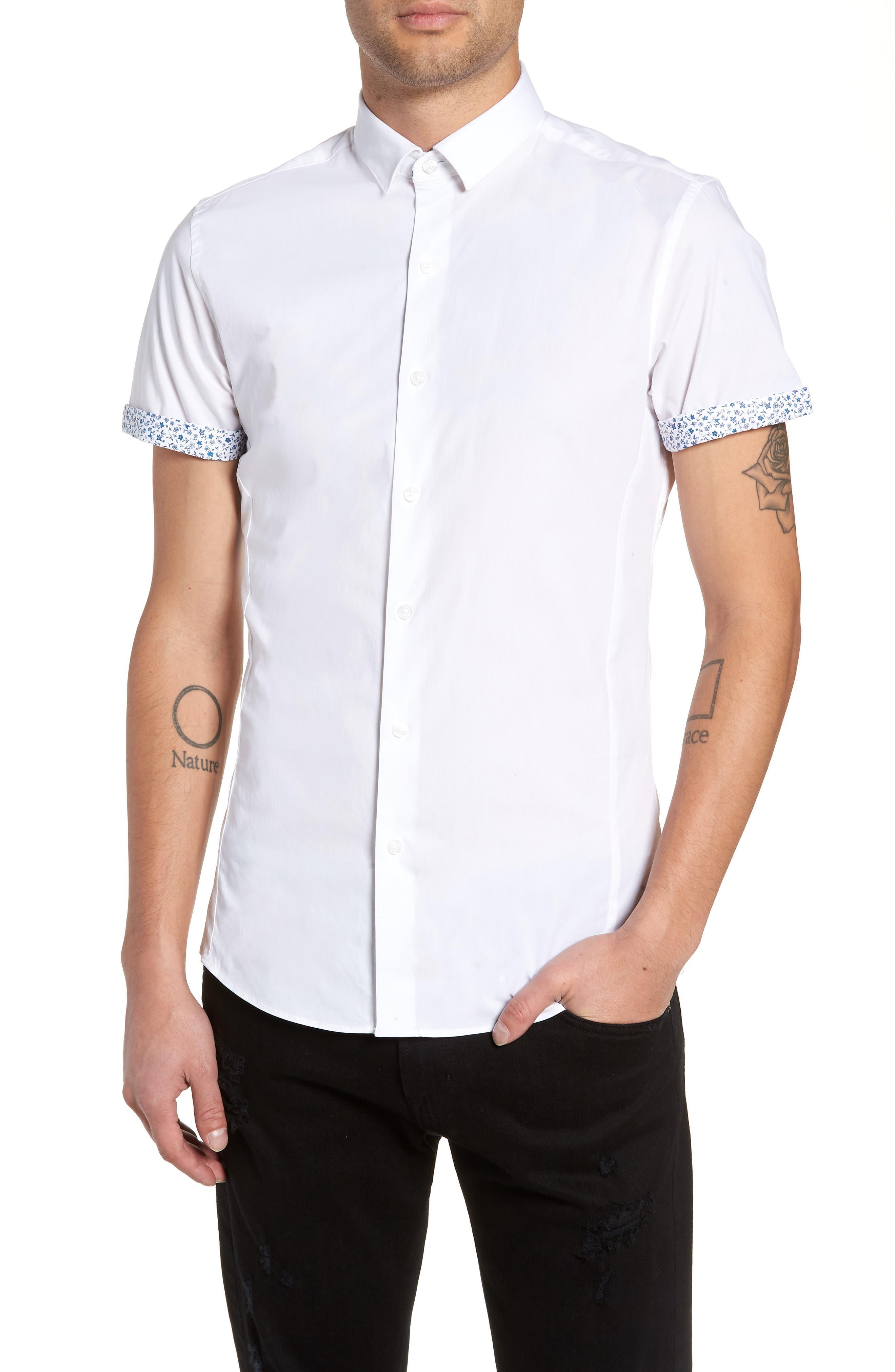Slim Fit Flower Cuff Shirt,                             Main thumbnail 1, color,                             WHITE MULTI