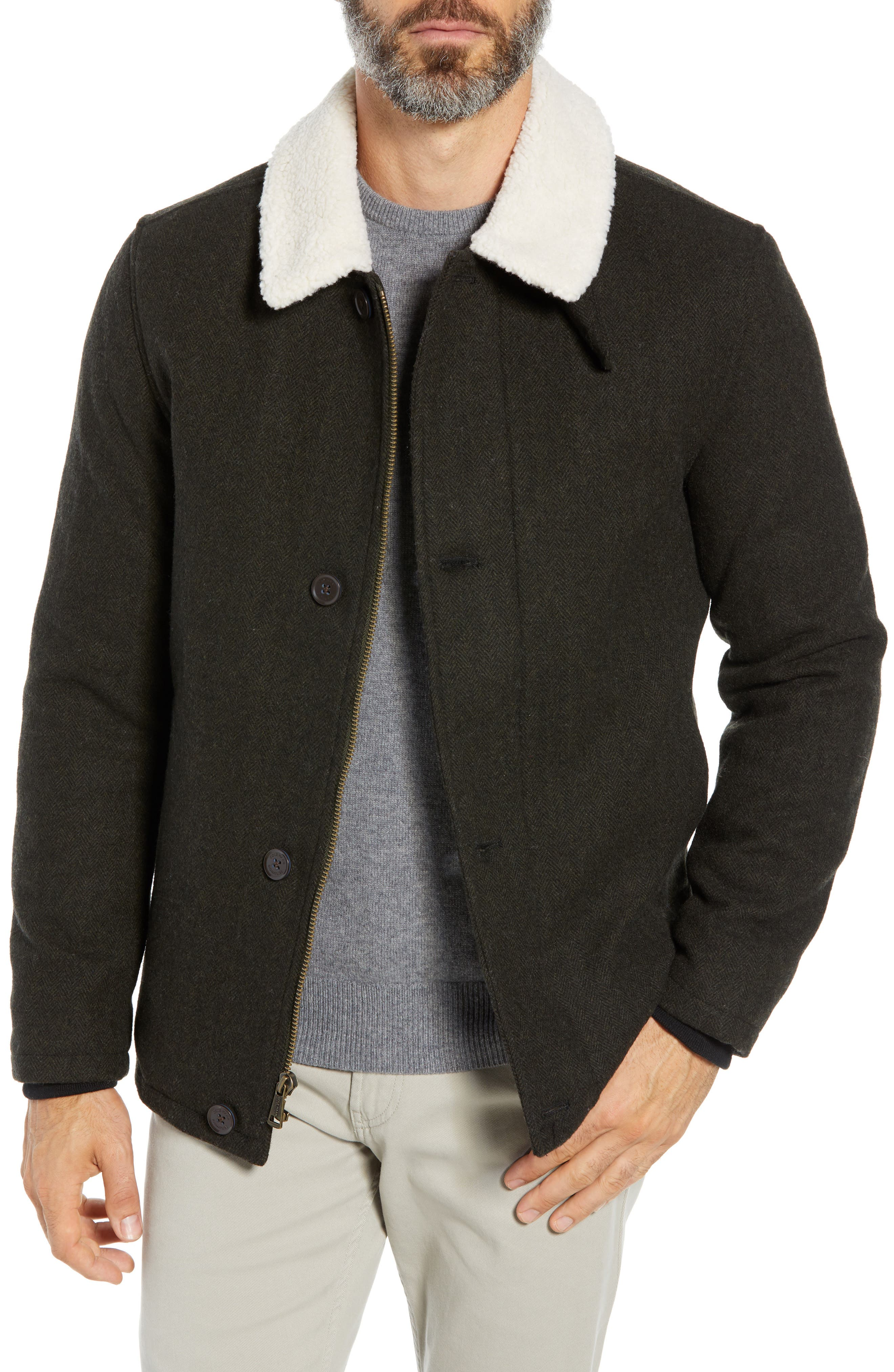 COLE HAAN SIGNATURE Faux Shearling Trim Field Jacket, Main, color, 317