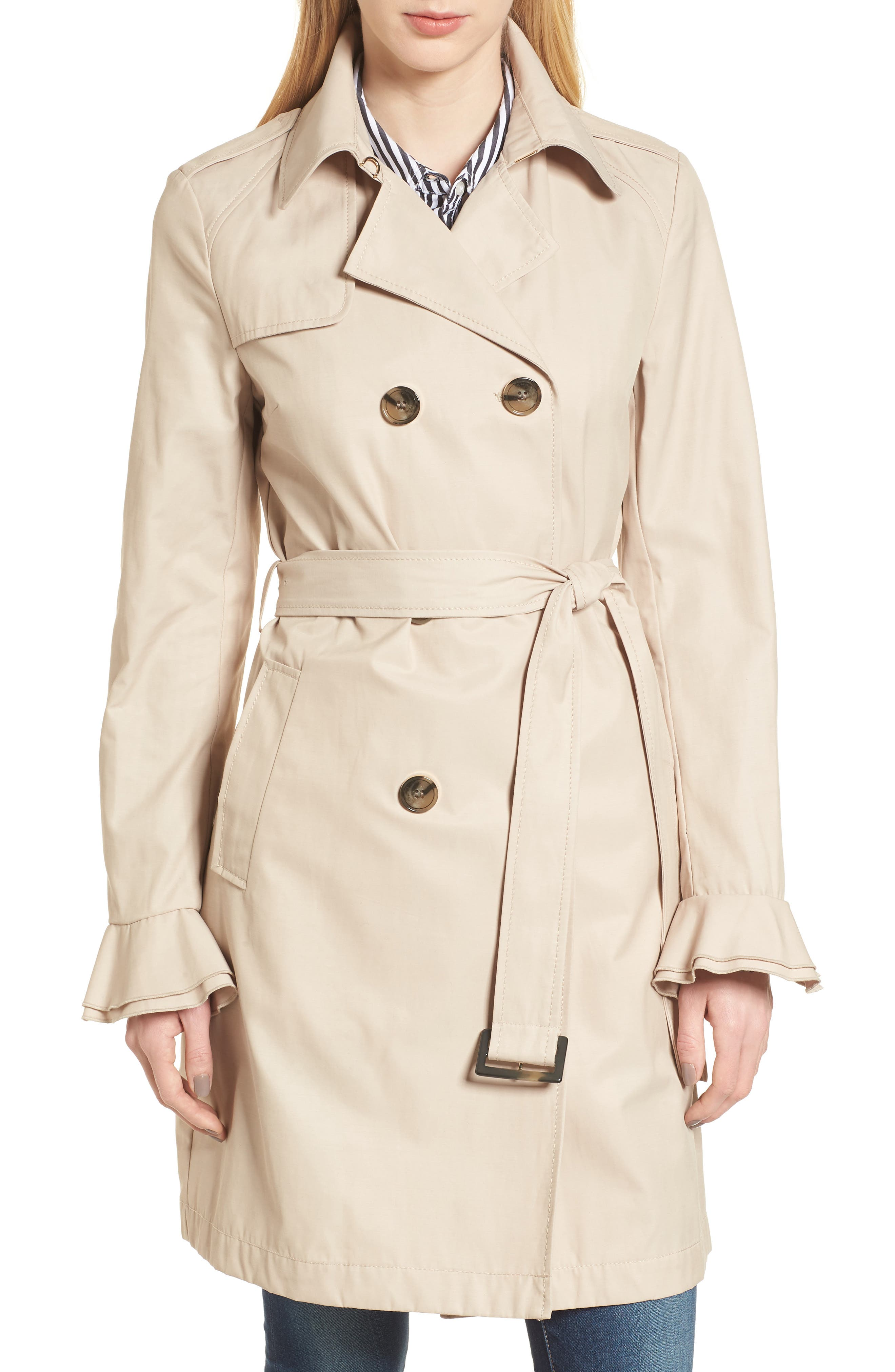 Stella Ruffle Sleeve Trench Coat,                         Main,                         color, 250