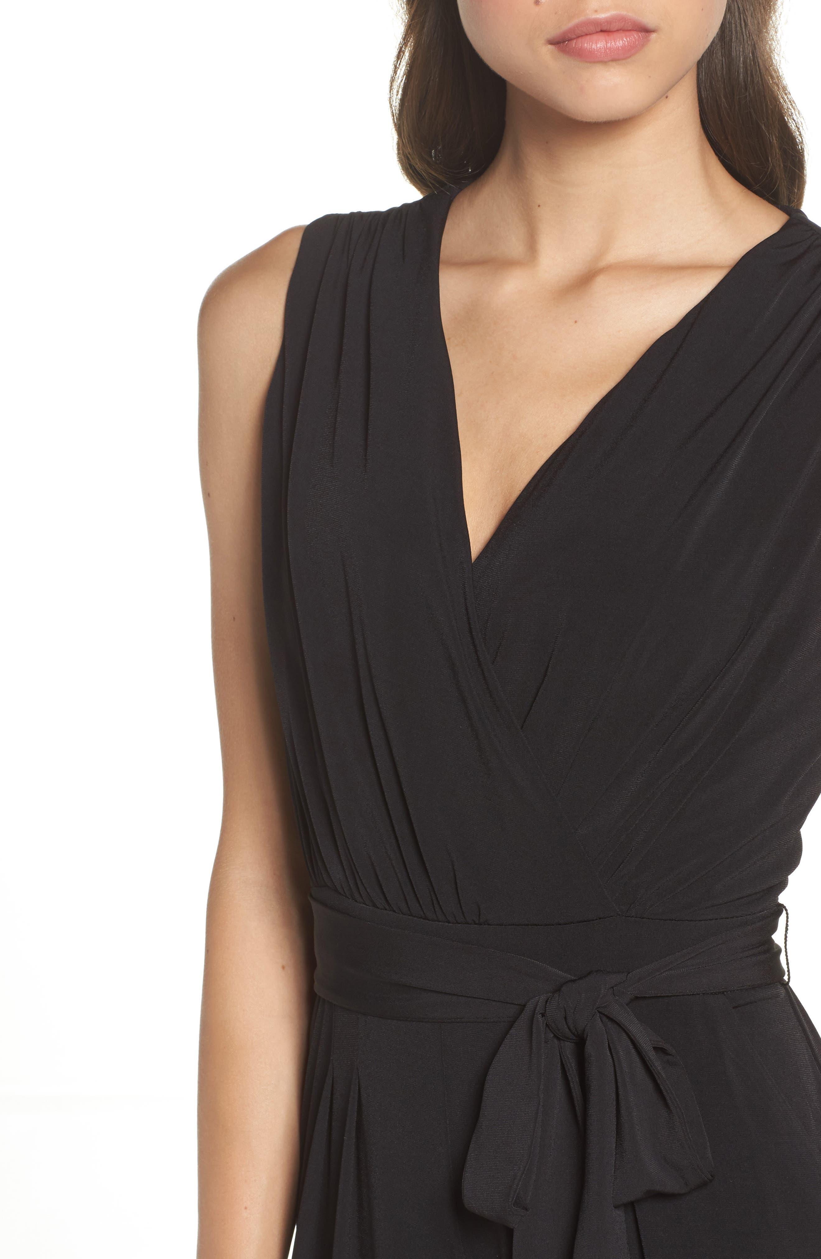 Faux Wrap Jersey Jumpsuit,                             Alternate thumbnail 4, color,                             BLACK