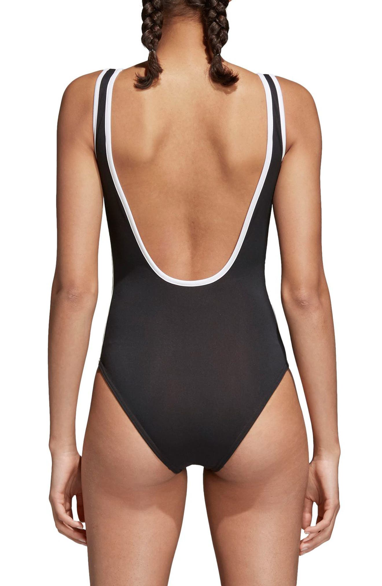 3-Stripes Bodysuit,                             Alternate thumbnail 2, color,                             BLACK