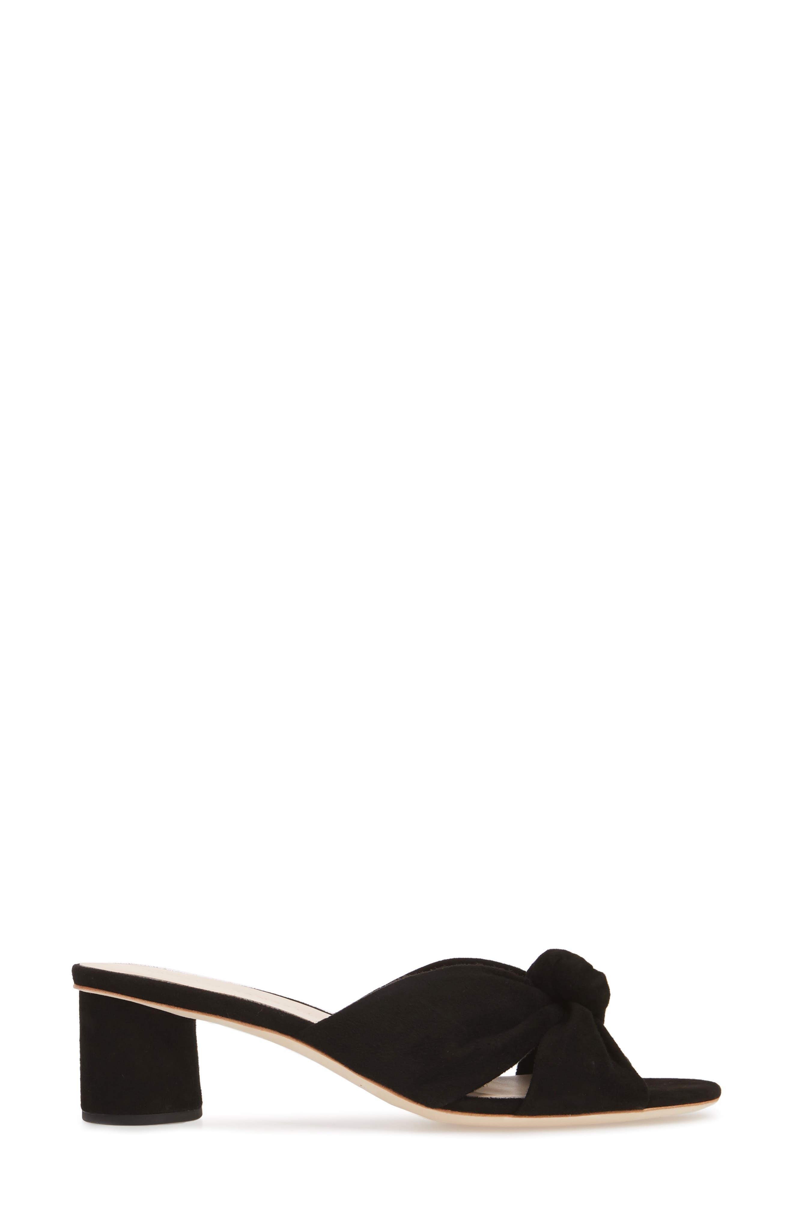 Loeffler Randal Celeste Knotted Slide Sandal,                             Alternate thumbnail 3, color,                             BLACK